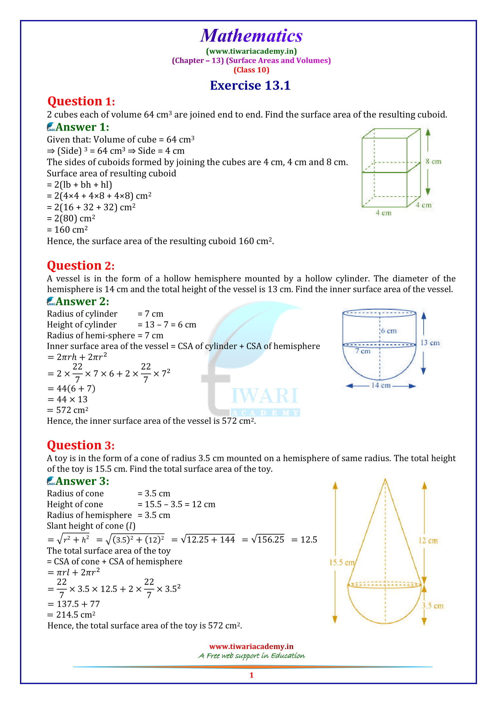 NCERT Solutions for Class 10 Maths Chapter 12 Exercise 13.1