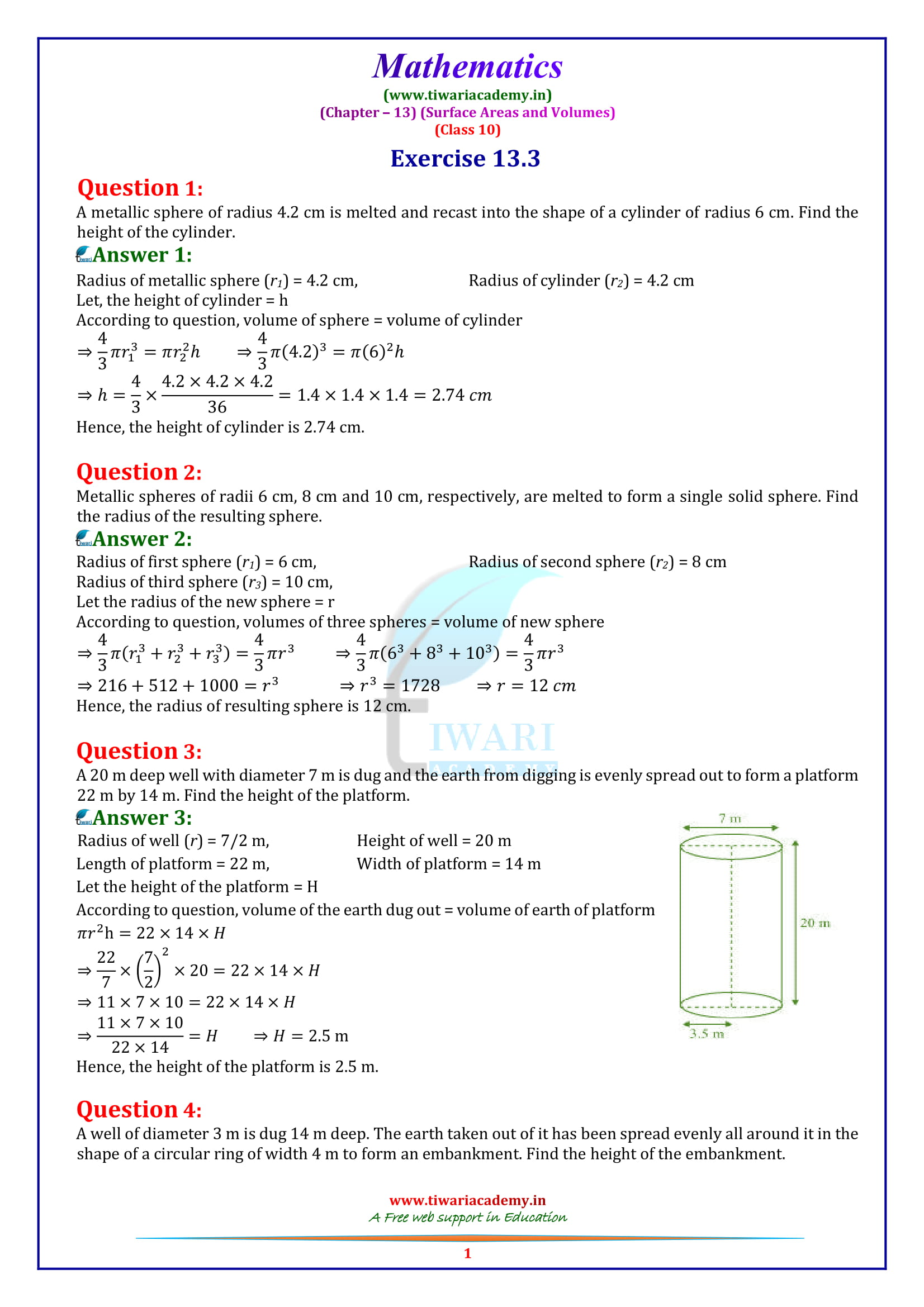 NCERT Solutions for class 10 maths chapter 13 exercise 13.3 in english medium