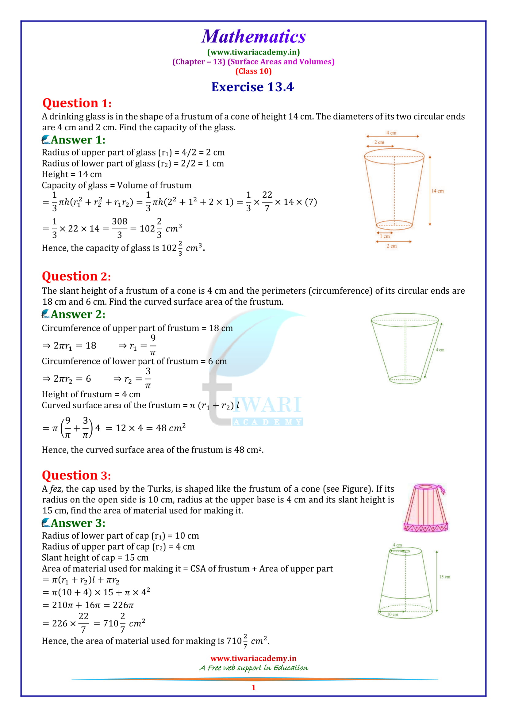 NCERT Solutions for class 10 Maths Exercise 13.4 in english medium