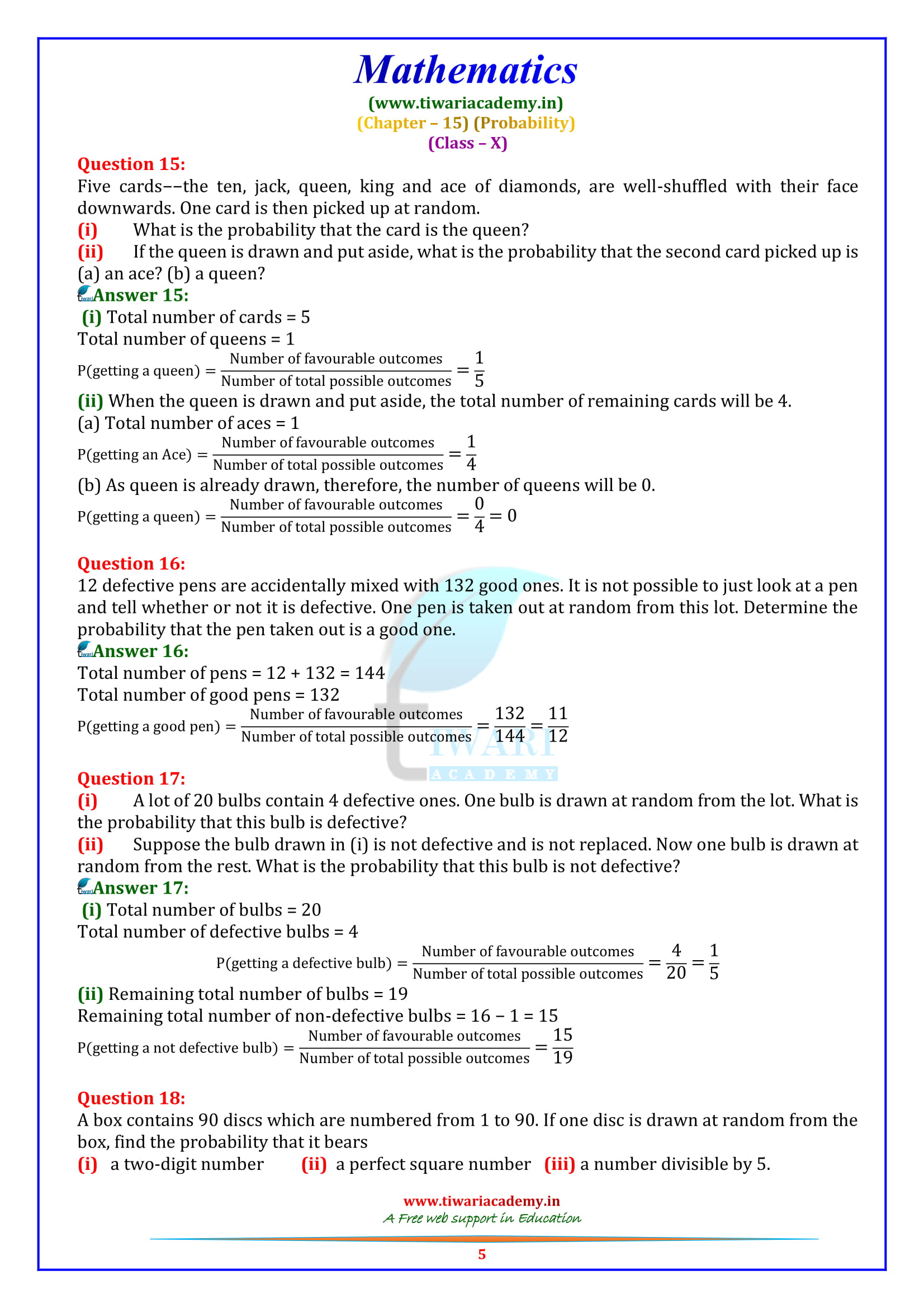 NCERT Solutions for Class 10 Maths Exercise 15.1