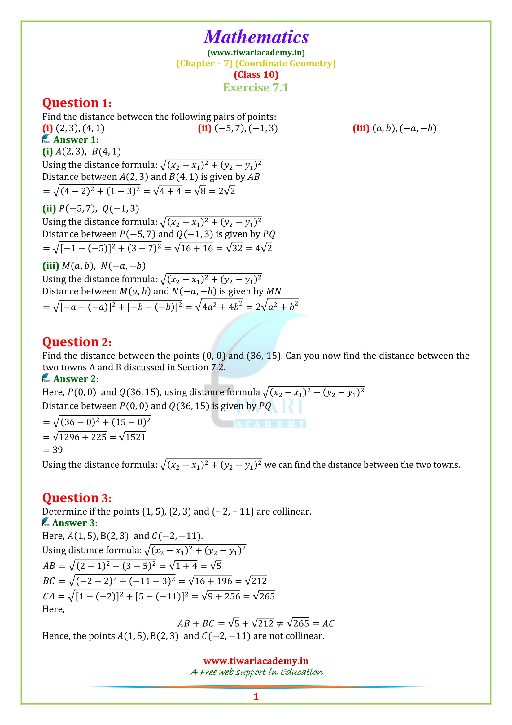 NCERT Solutions for class 10 Exercise 7.1 question 1, 2, 3, 4, 5, 6, 7, 8,, 9, 10