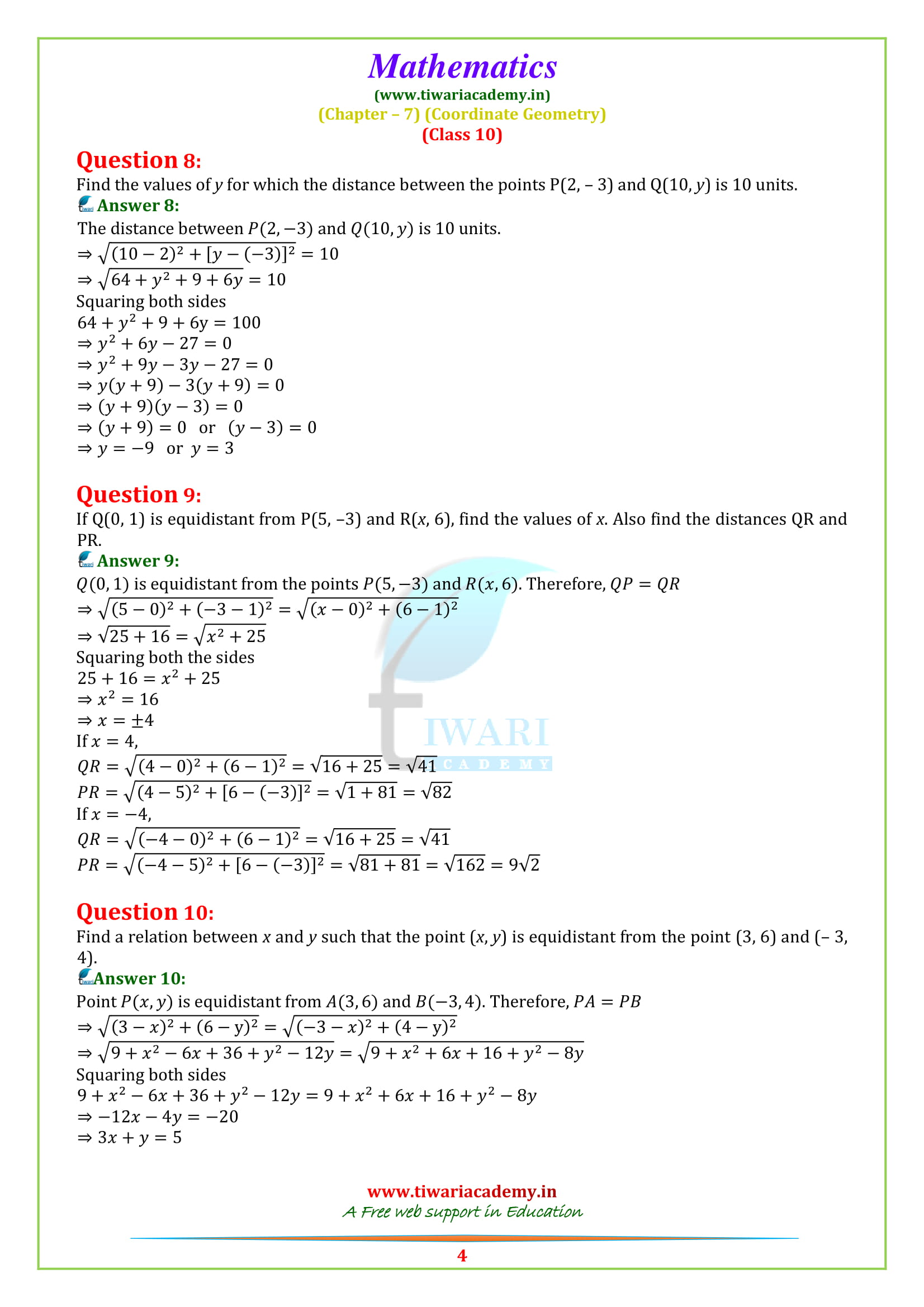 NCERT Solutions for class 10 Exercise 7.1 all question answers