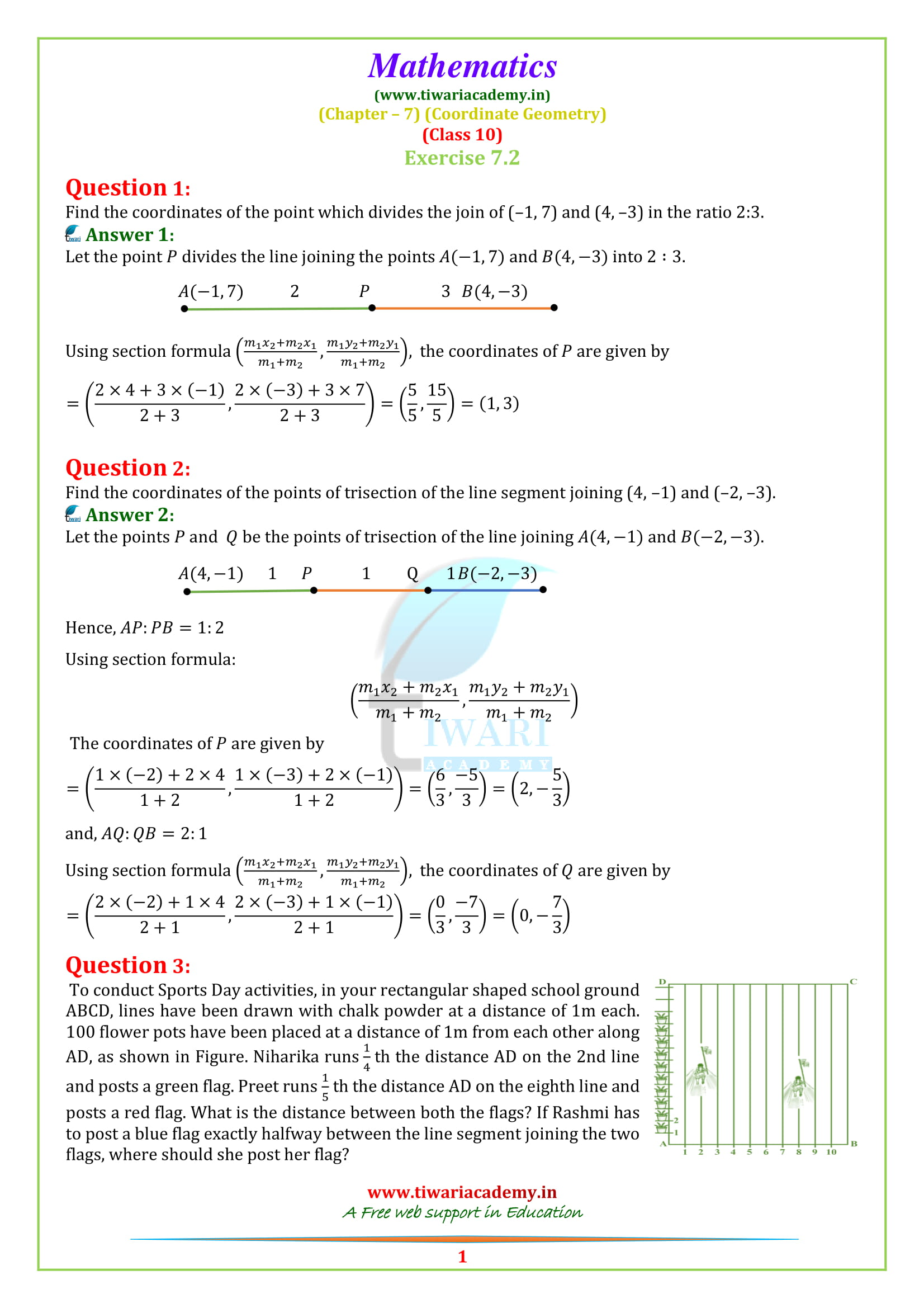NCERT Solutions for class 10 Maths Exercise 7.2 in English Medium
