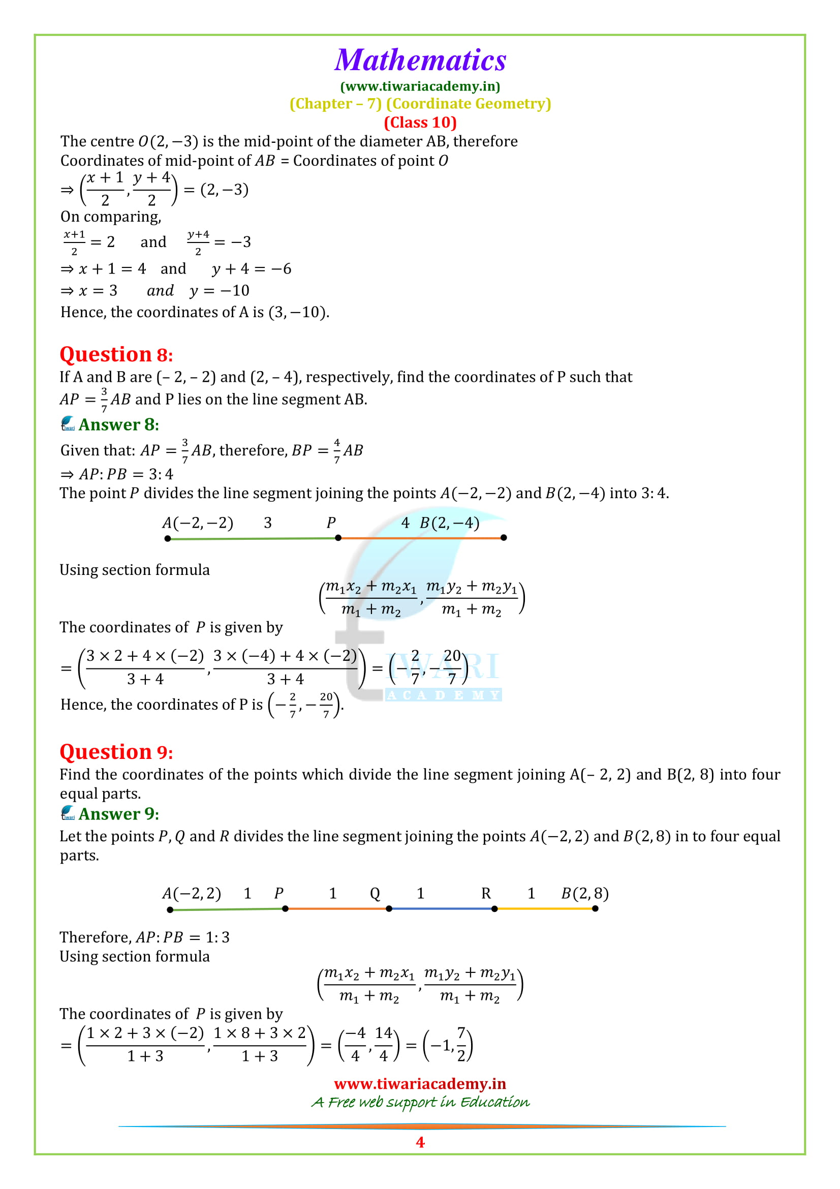 NCERT Solutions for class 10 Maths Exercise 7.2 question 1, 2, 3, 4, 5, 6, 7, 8, 9, 10