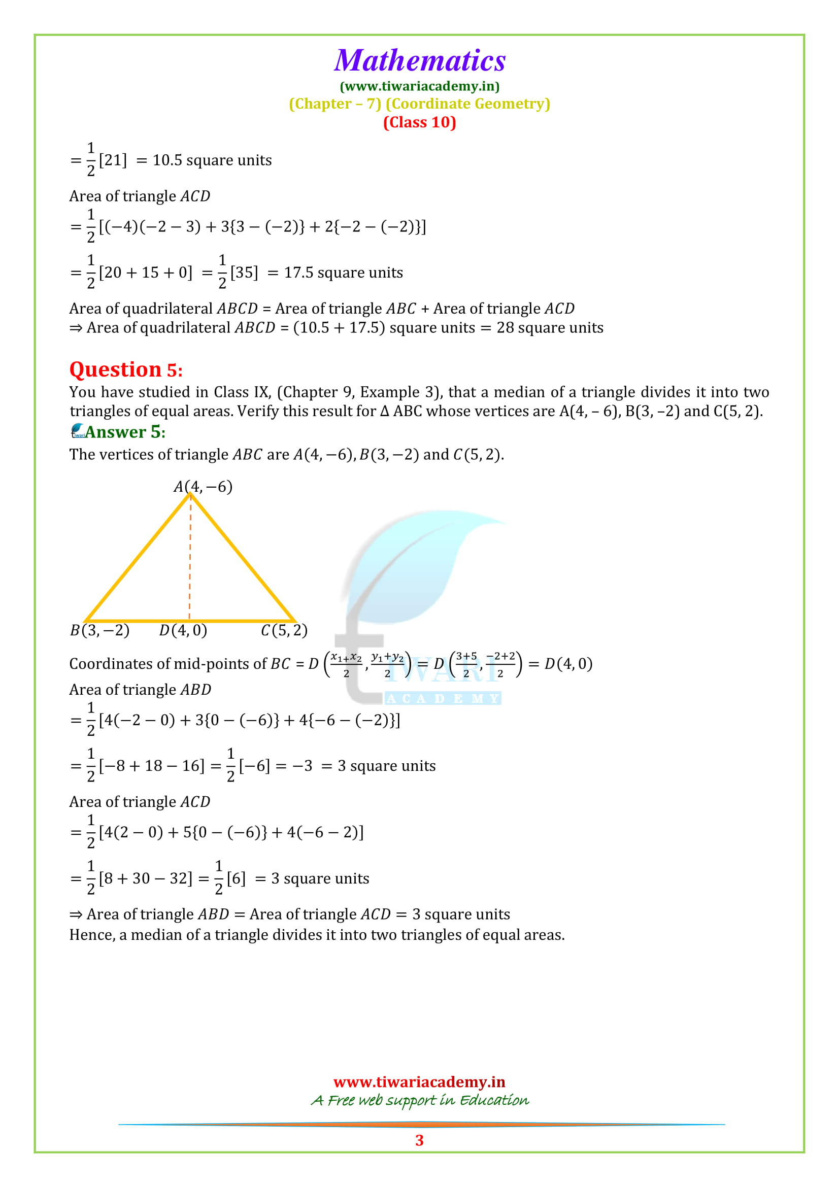 NCERT Solutions for class 10 Maths Exercise 7.3 for up board high school