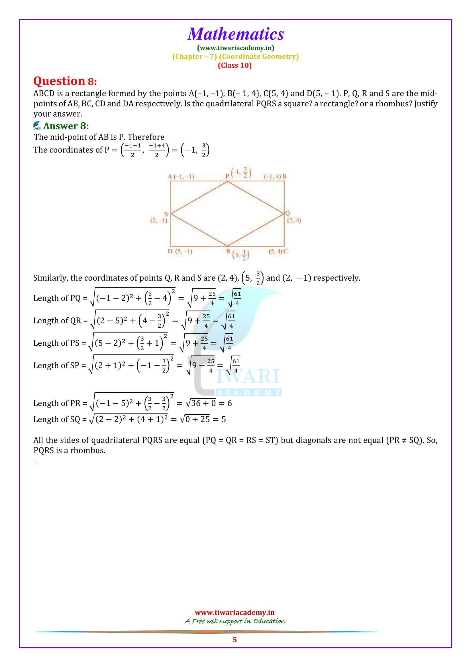NCERT Solutions for class 10 Maths Exercise 7.4 question 1, 2, 3, 4, 5, 6, 7, 8., 9