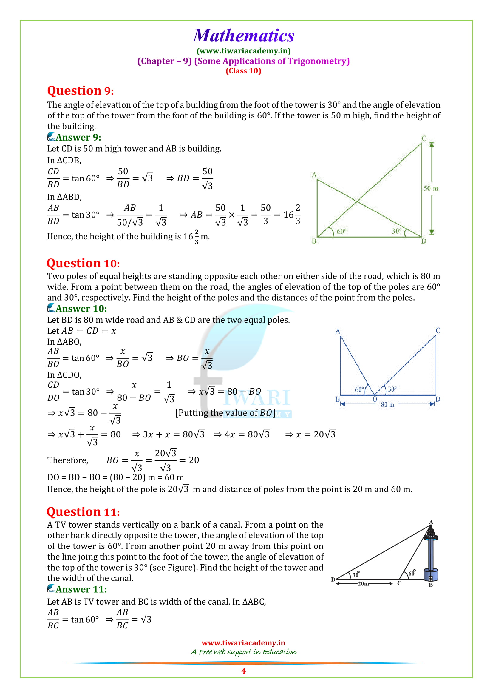 10 Maths exercise 9.1 question 9 and 10 solutions