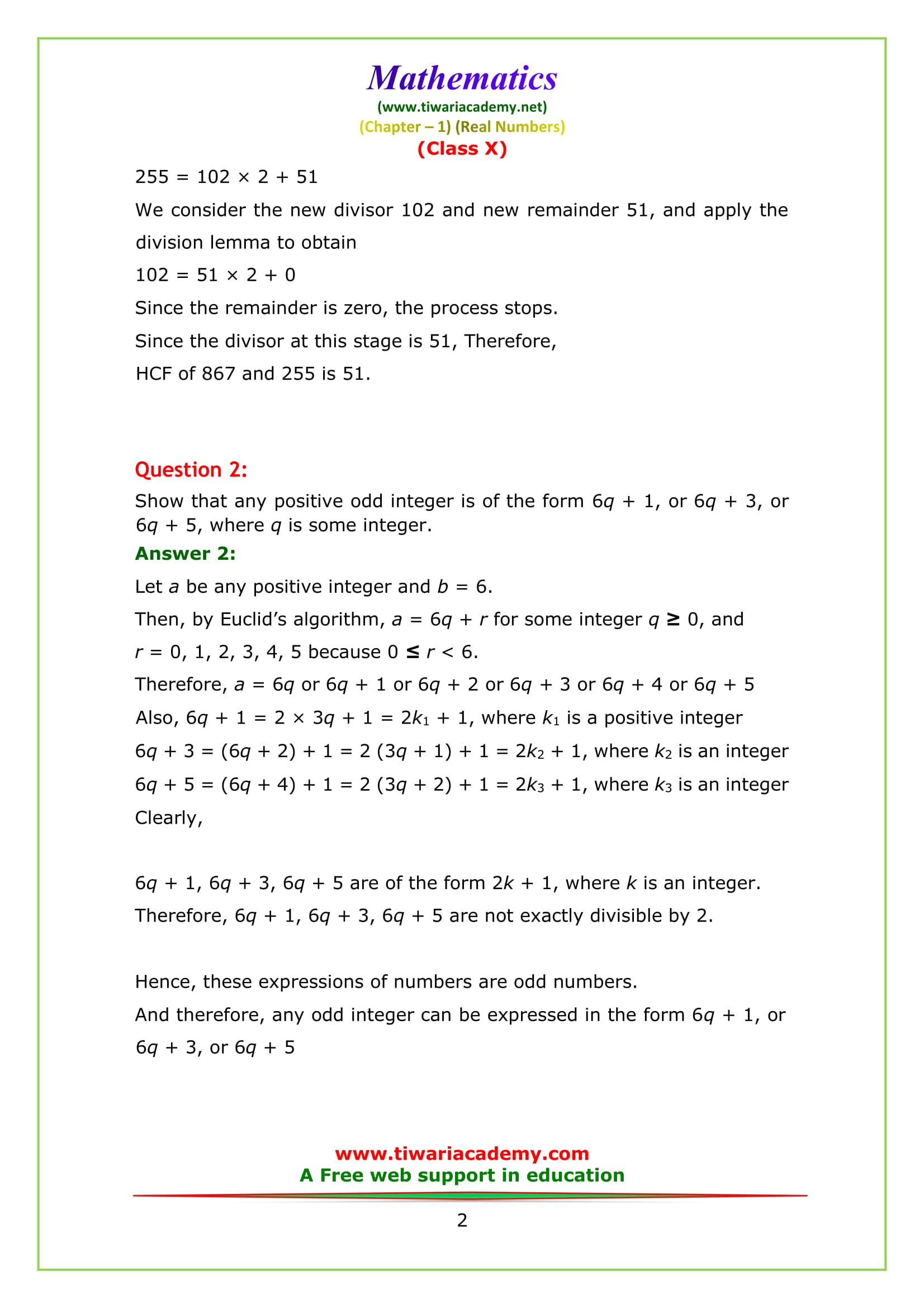 NCERT Solutions for Class 10 Maths Chapter 1 Exercise 1.1 Question 2