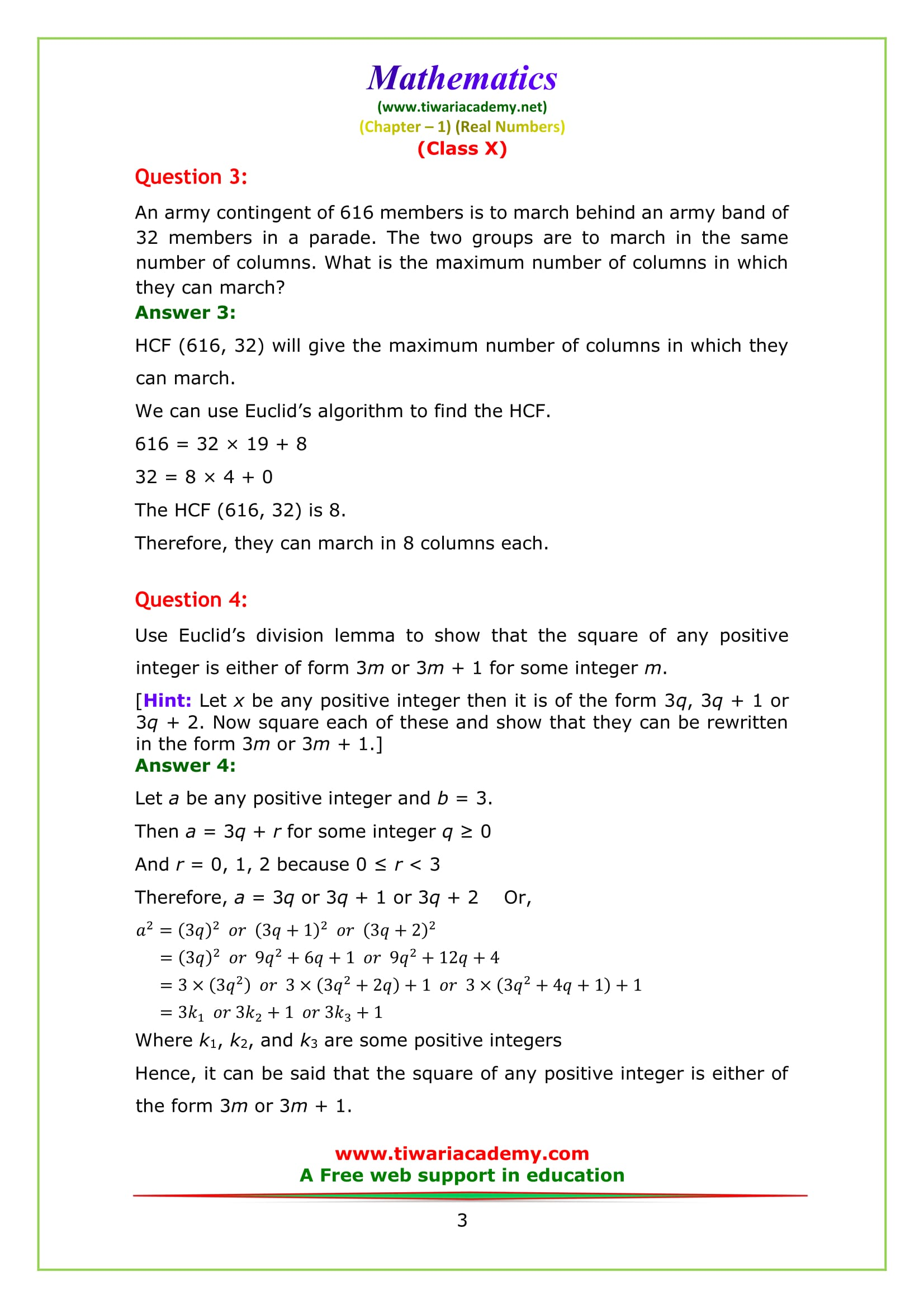 NCERT Solutions for Class 10 Maths Chapter 1 Exercise 1.1 Question 3 & 4