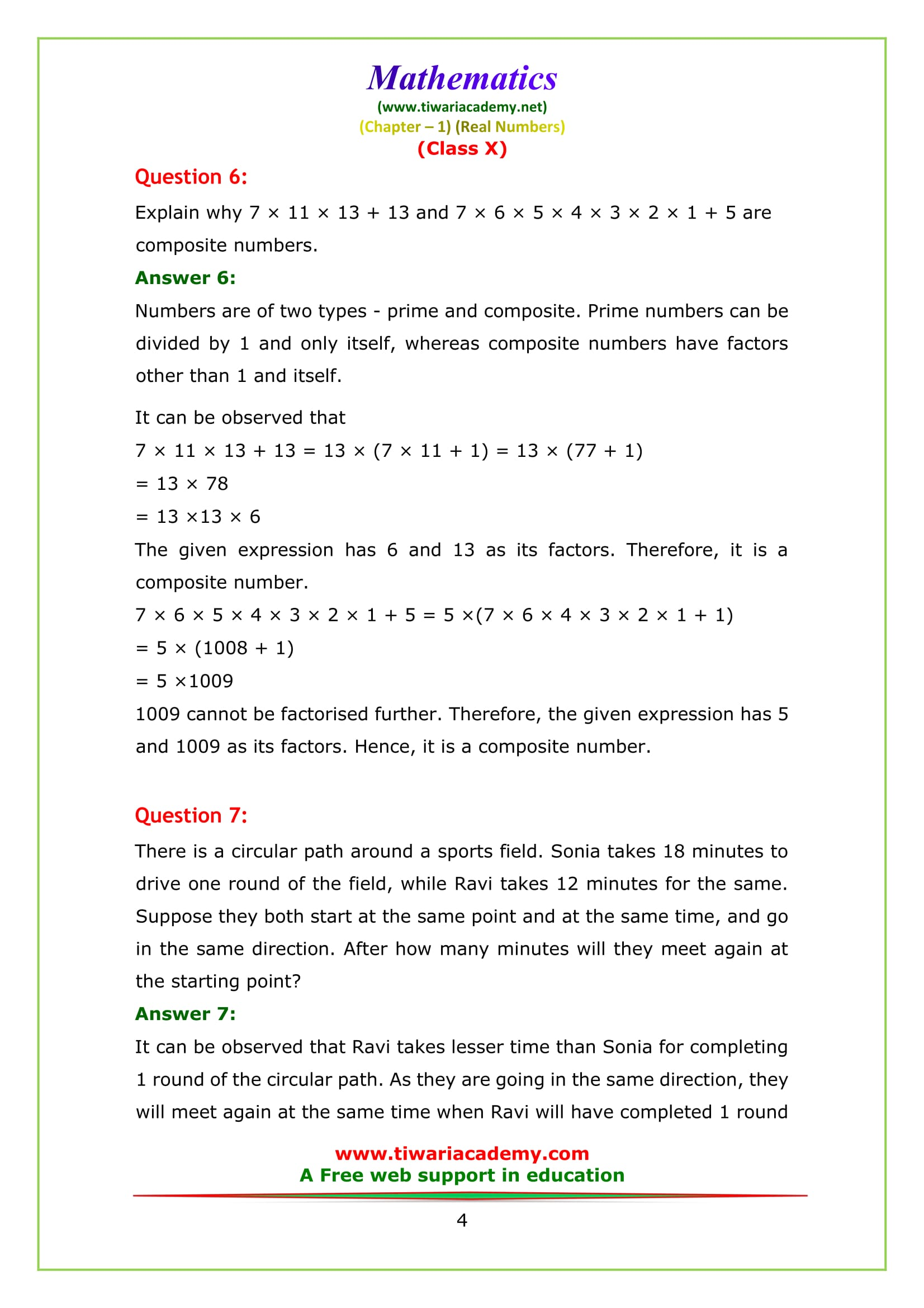 NCERT Solutions for class 10 maths chapter 1 exercise 1.2 Question 6