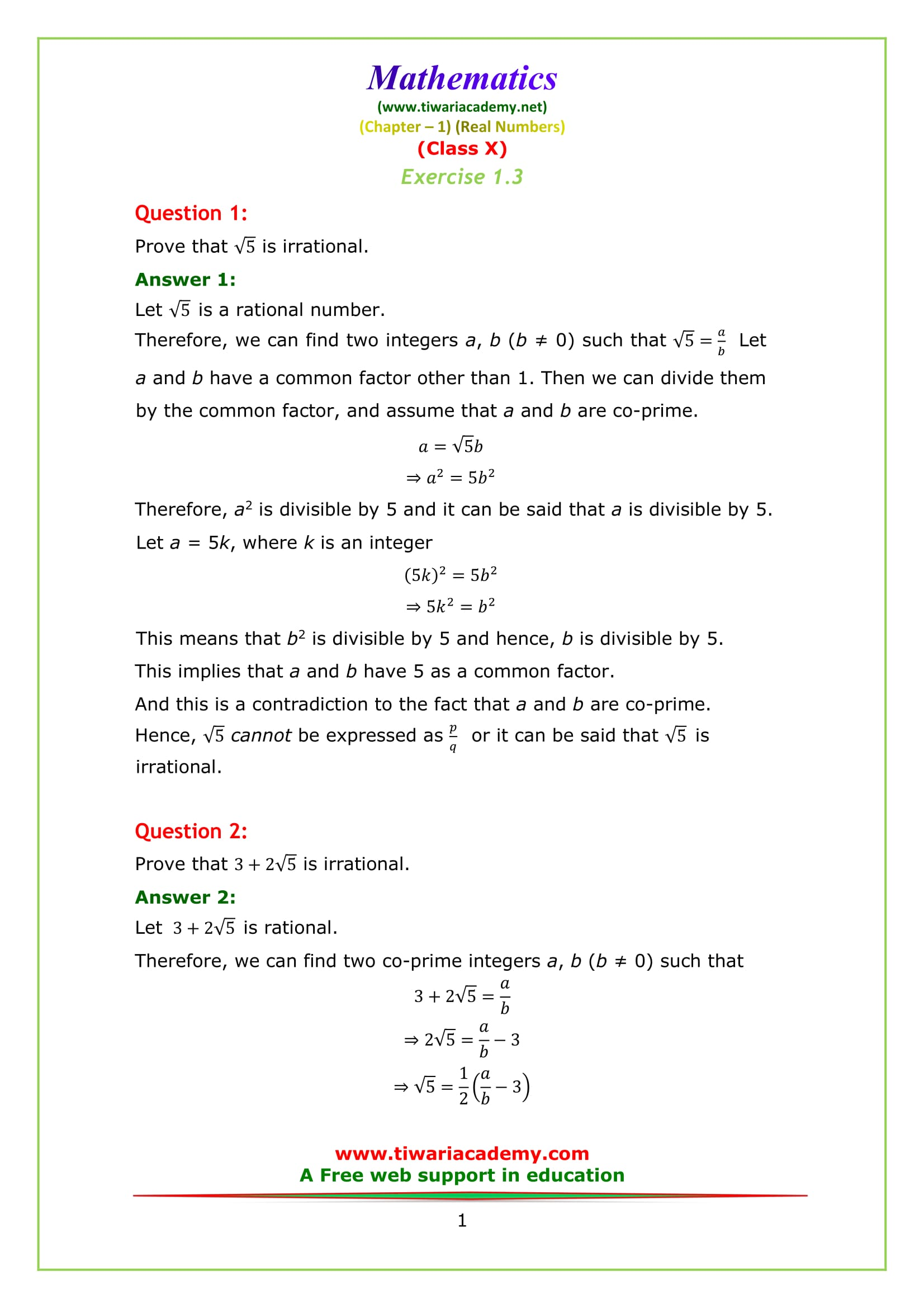 NCERT Solutions for class 10 Maths Chapter 1 Exercise 1.3 Question 1 & 2