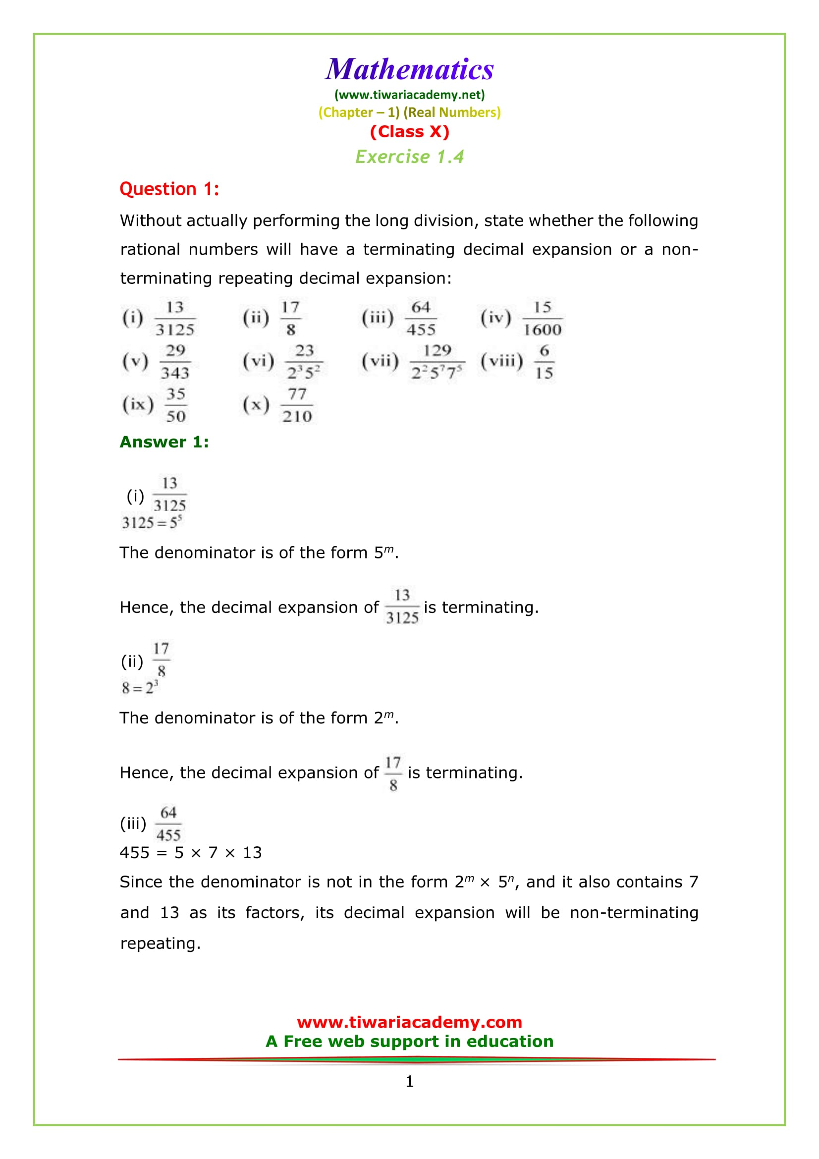 ncert solution class 10 maths chapter 1