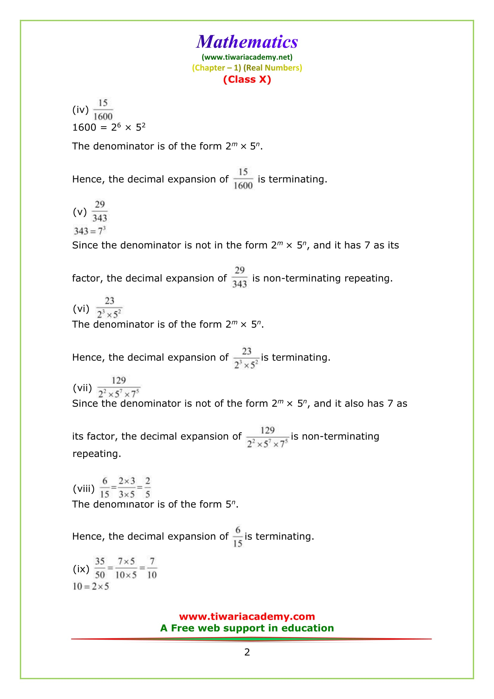 NCERT Solutions for class 10 maths chapter 1 exercise 1.4 Question 1