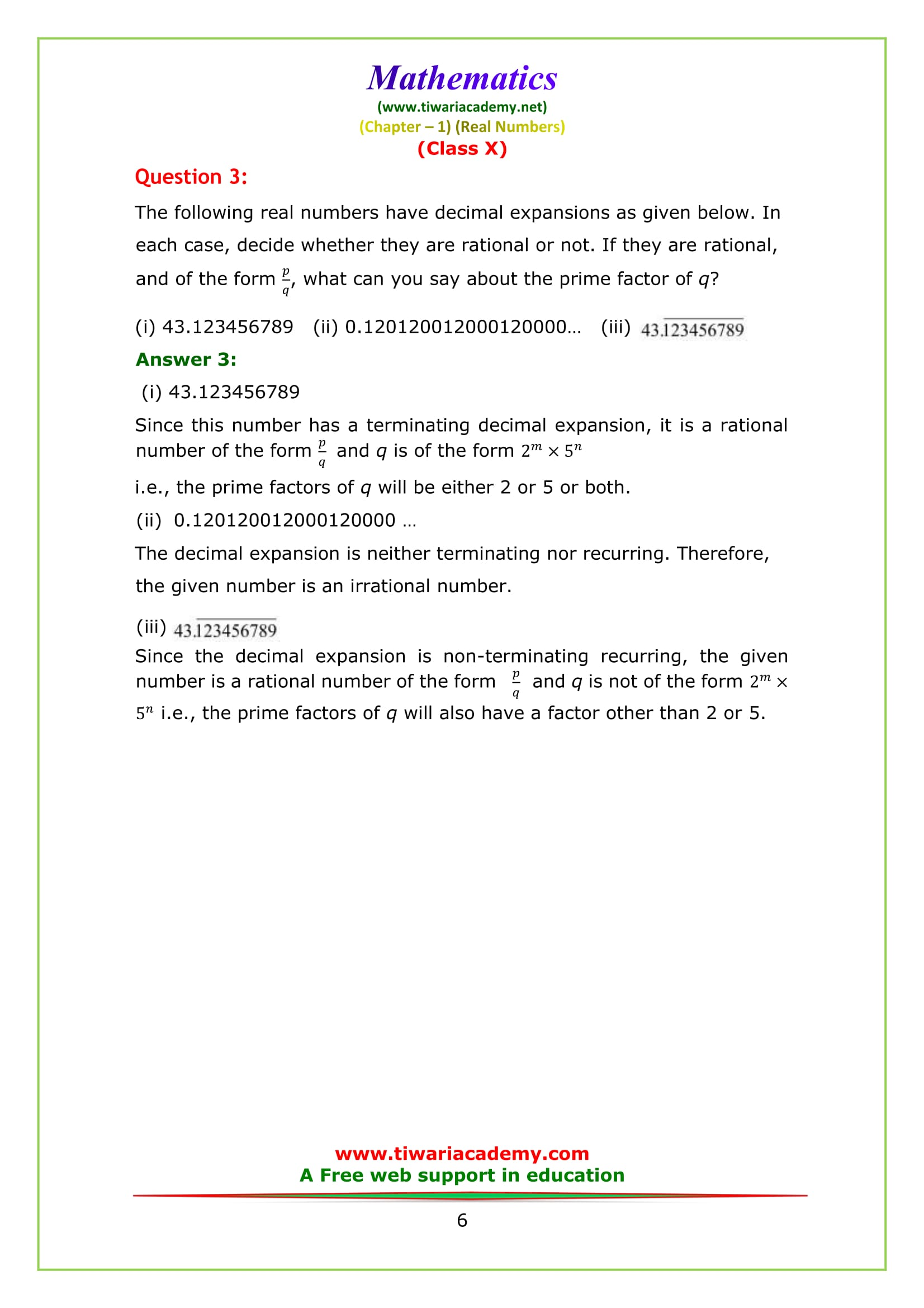 NCERT Solutions for class 10 maths chapter 1 exercise 1.4 Question 3