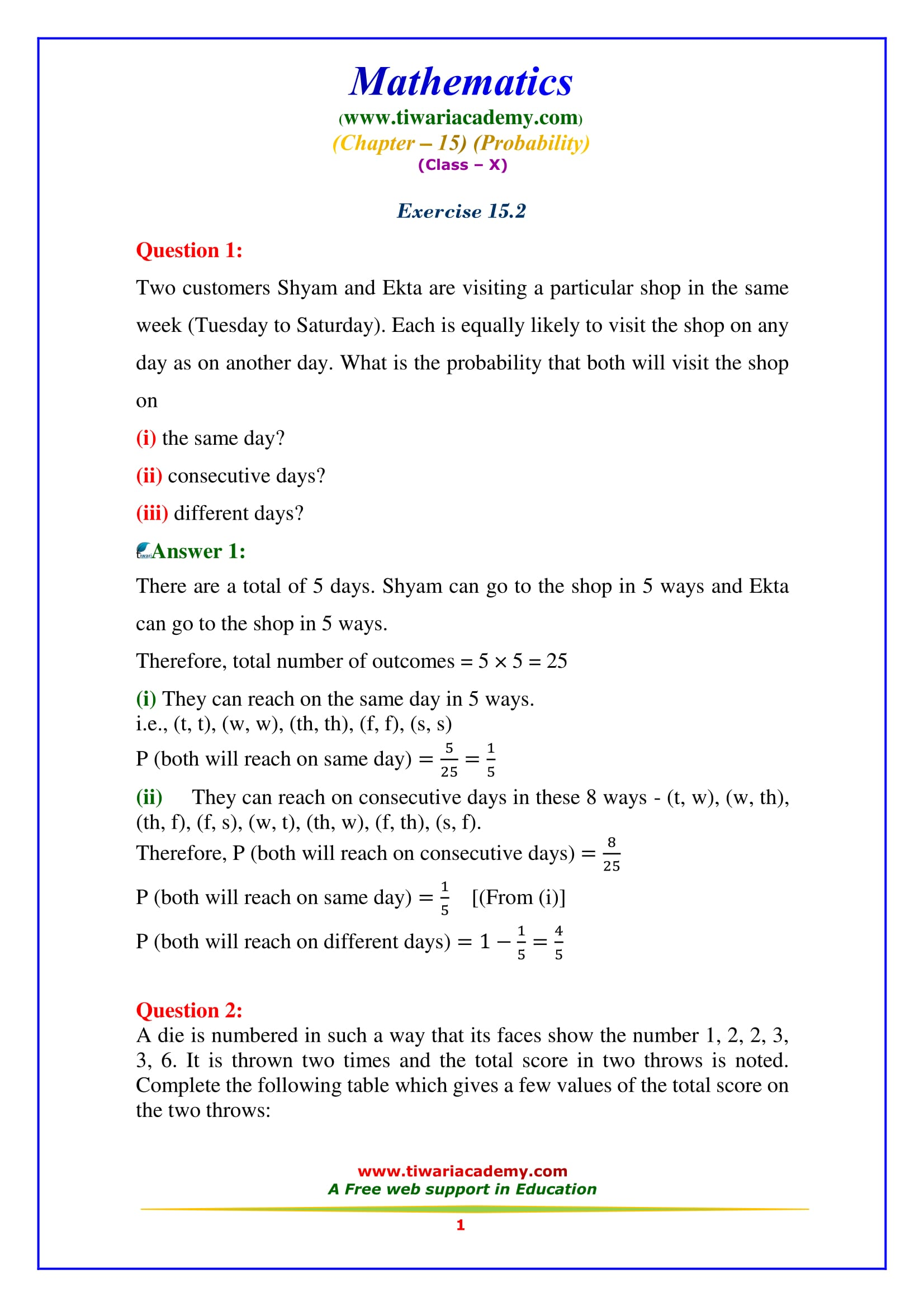 NCERT Solutions for Class 10 Maths Chapter 15 Exercise 15.2 Question 1
