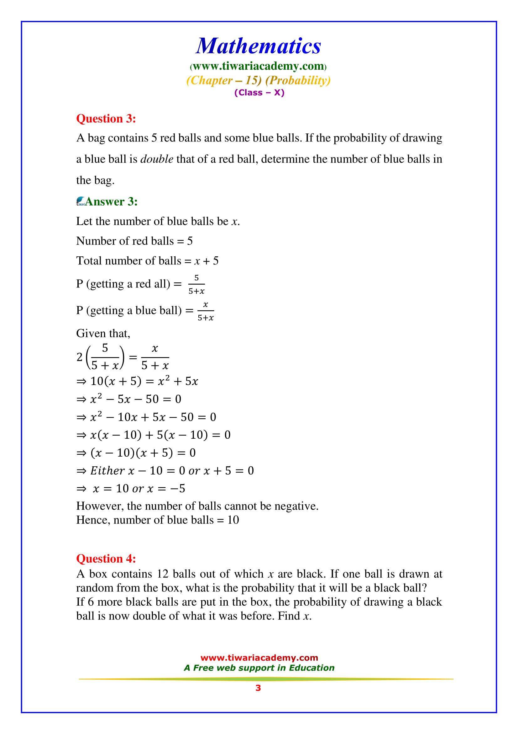 NCERT Solutions for Class 10 Maths Chapter 15 Exercise 15.2 Question 3