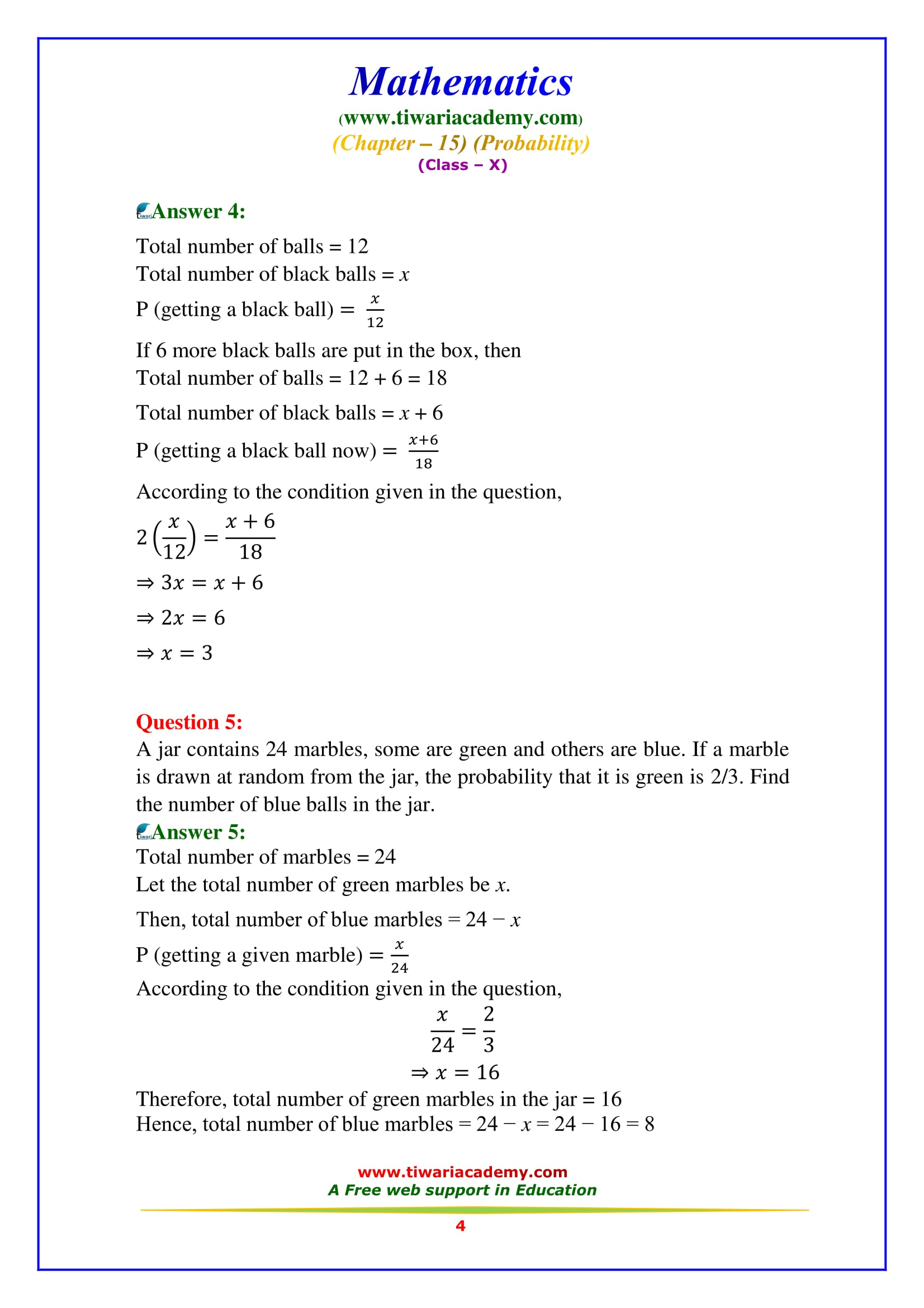 NCERT Solutions for Class 10 Maths Chapter 15 Exercise 15.2 Question 4 & 5