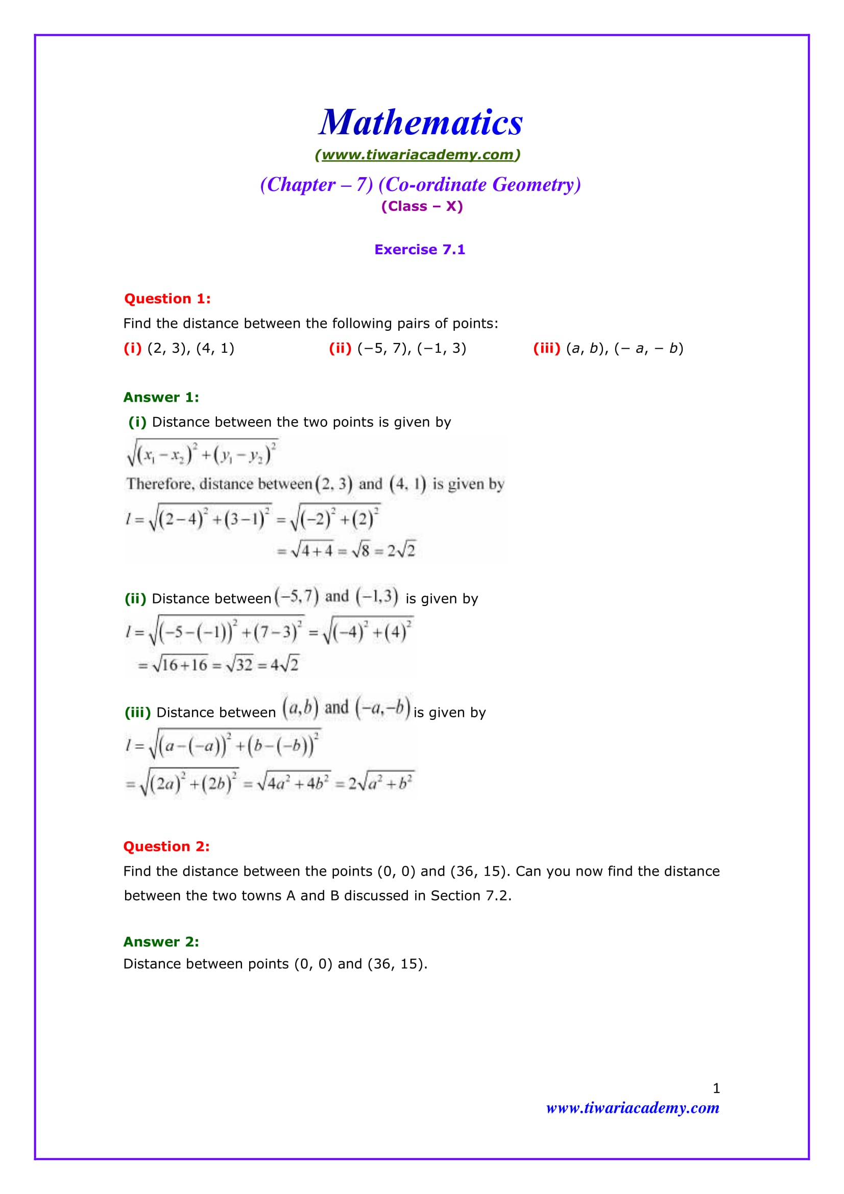 NCERT Solutions for Class 10 Maths Chapter 7 Exercise 7.1 Online & PDF