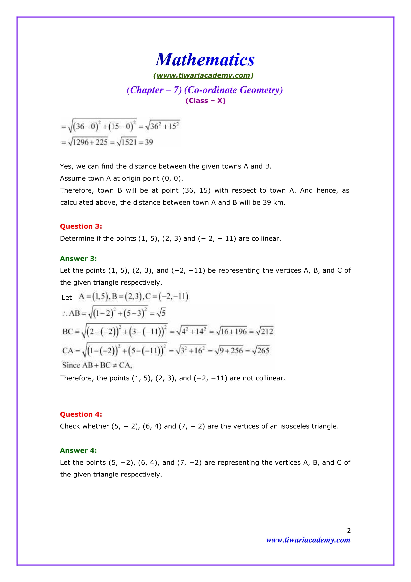 NCERT Solutions for Class 10 Maths Chapter 7 Exercise 7.1 Question 3 & 4