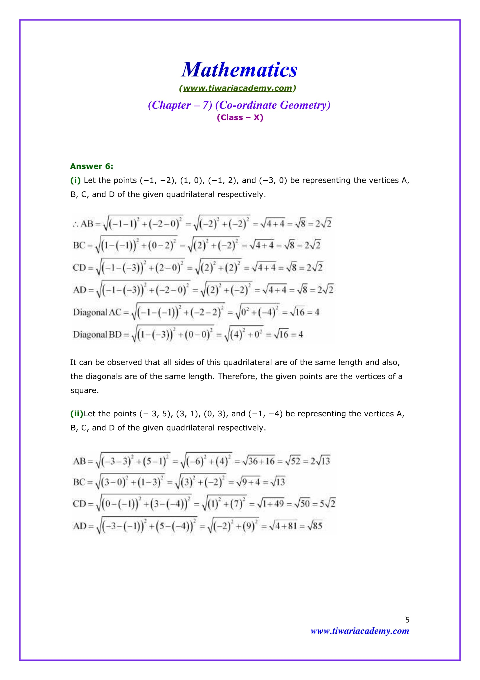 NCERT Solutions for Class 10 Maths Chapter 7 Exercise 7.1 Question 6 Answer