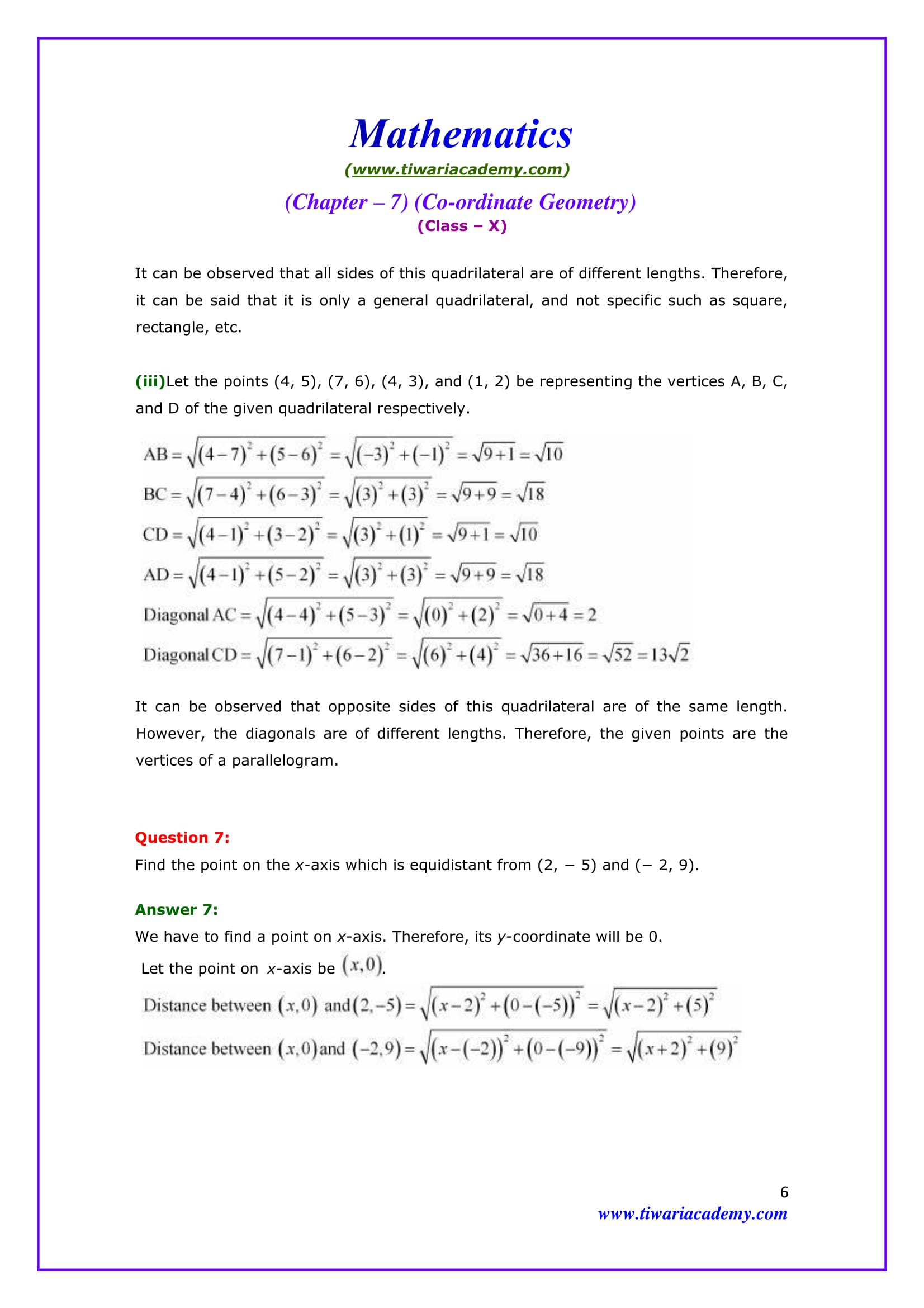 NCERT Solutions for Class 10 Maths Chapter 7 Exercise 7.1 Question 7