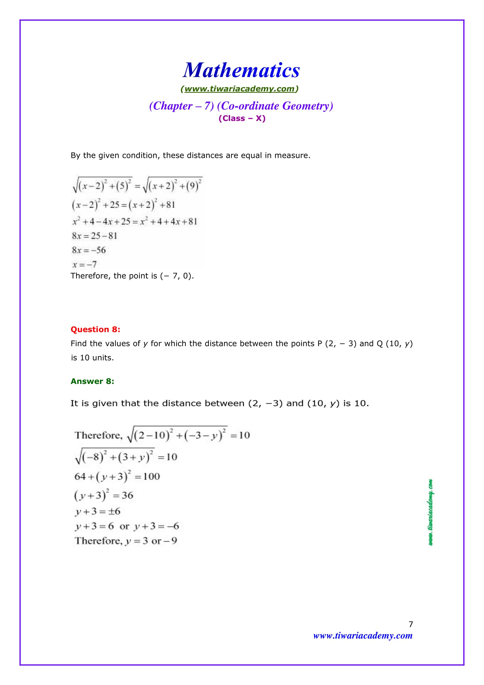 NCERT Solutions for Class 10 Maths Chapter 7 Exercise 7.1 Question 8