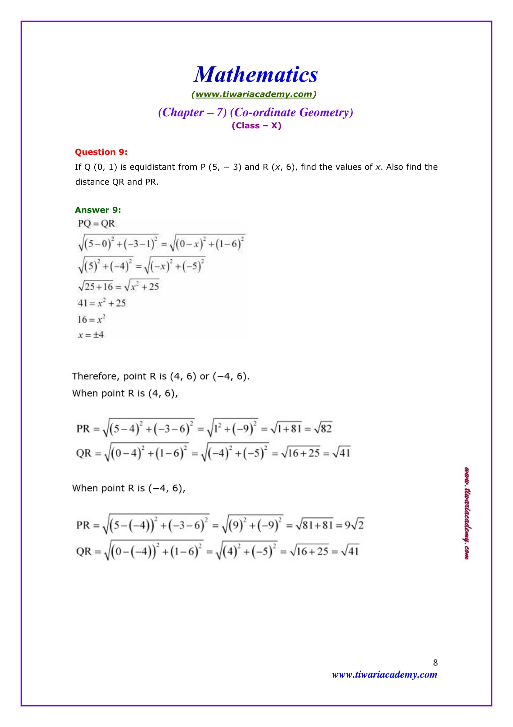 NCERT Solutions for Class 10 Maths Chapter 7 Exercise 7.1 Question 9