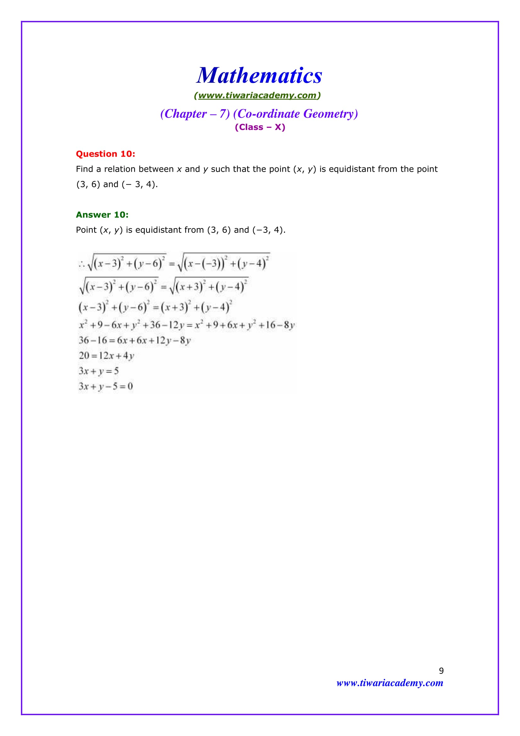 NCERT Solutions for Class 10 Maths Chapter 7 Exercise 7.1 Question 10