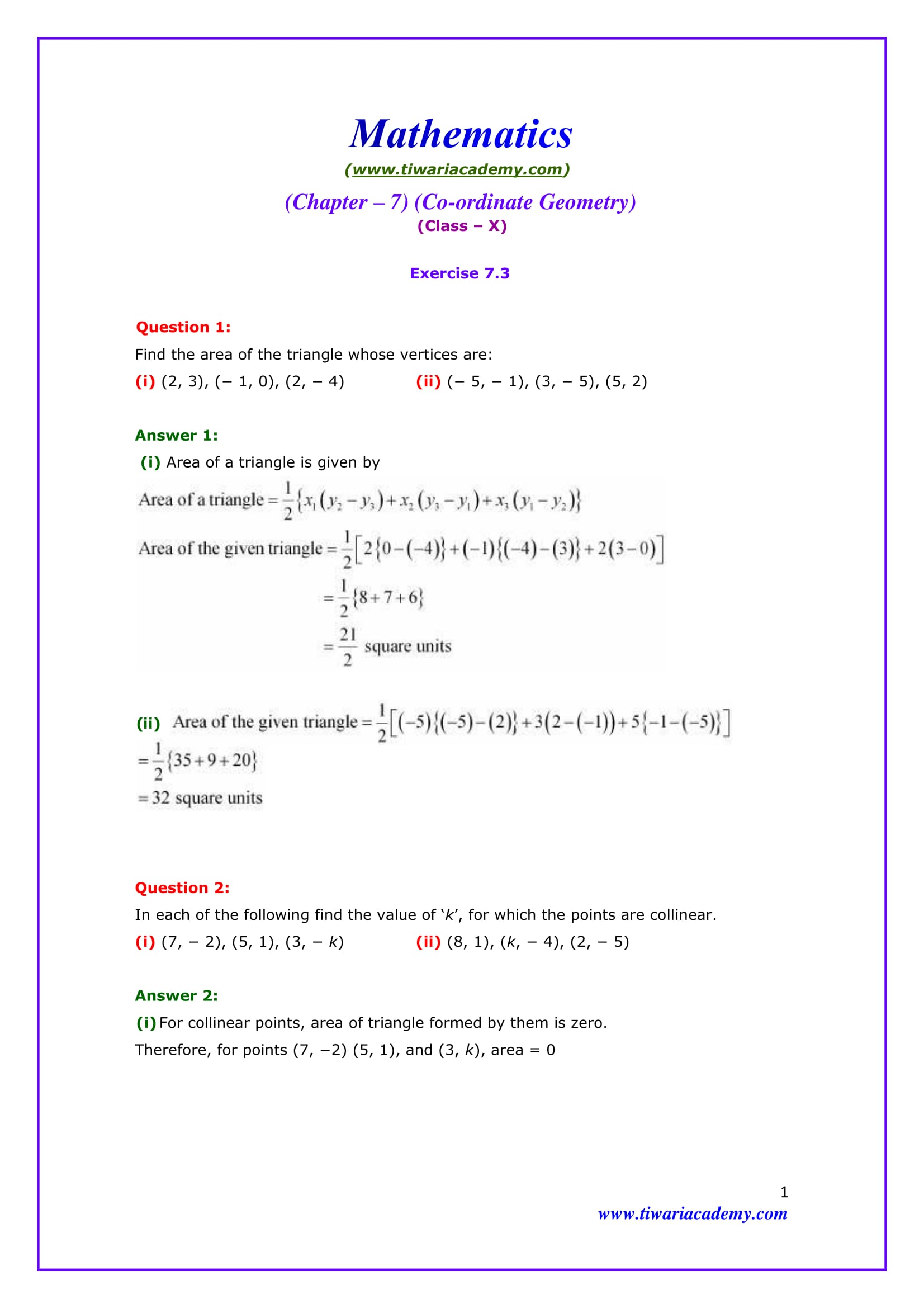 Premise Indicator Words: NCERT Solutions For Class 10 Maths Chapter 7 Exercise 7.3