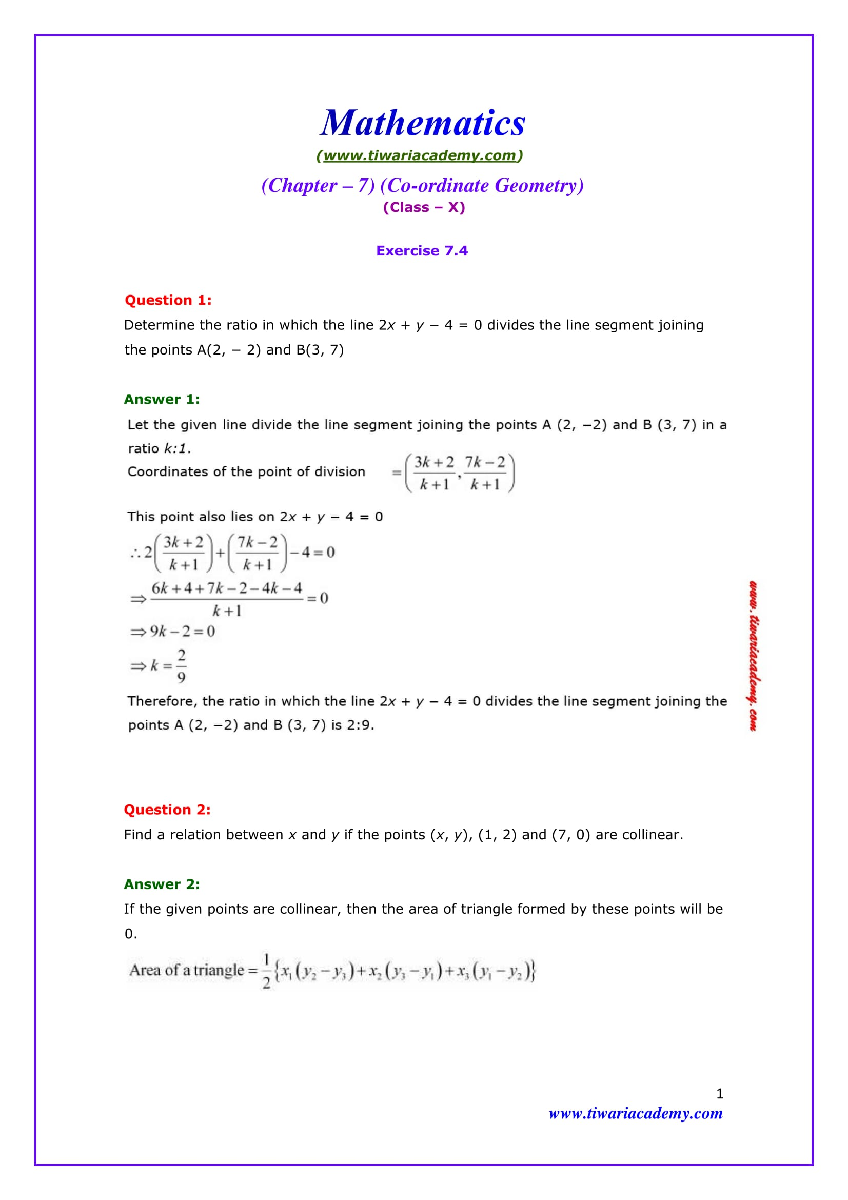 Premise Indicator Words: NCERT Solutions For Class 10 Maths Chapter 7 Exercise 7.4