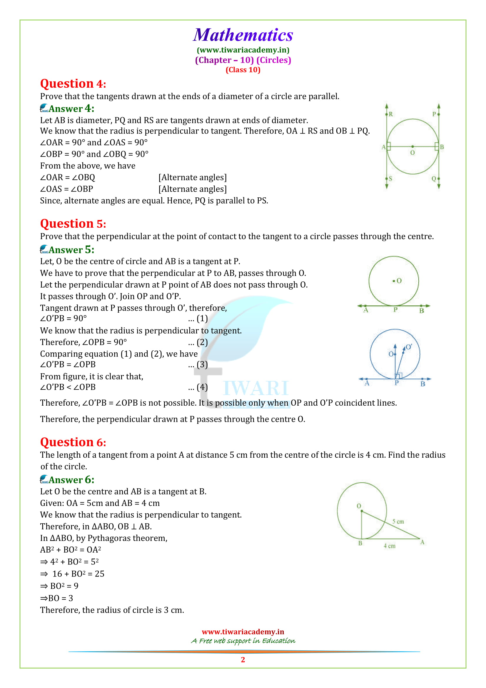 Class 10 Maths exercise 10.2 solutions updated for 2018-19
