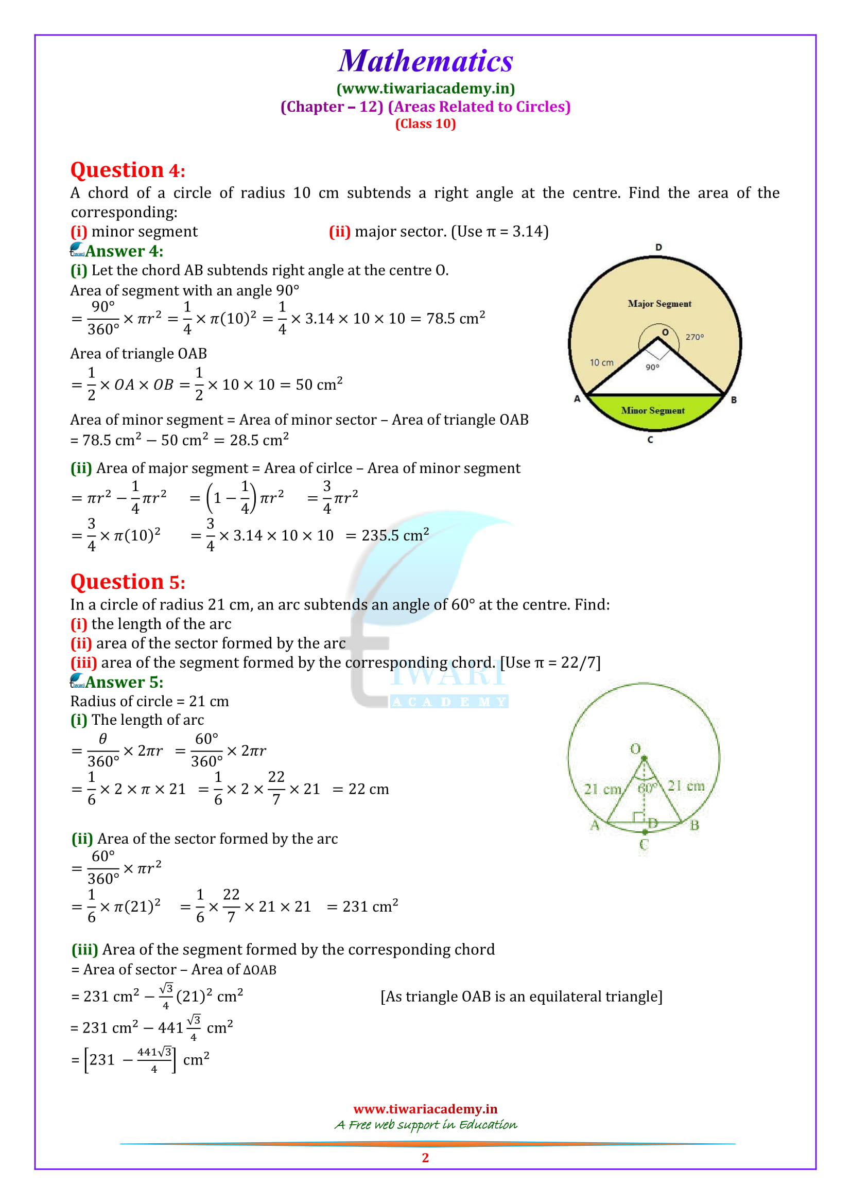 NCERT Solutions for class 10 Maths Exercise 12.2 in english medium