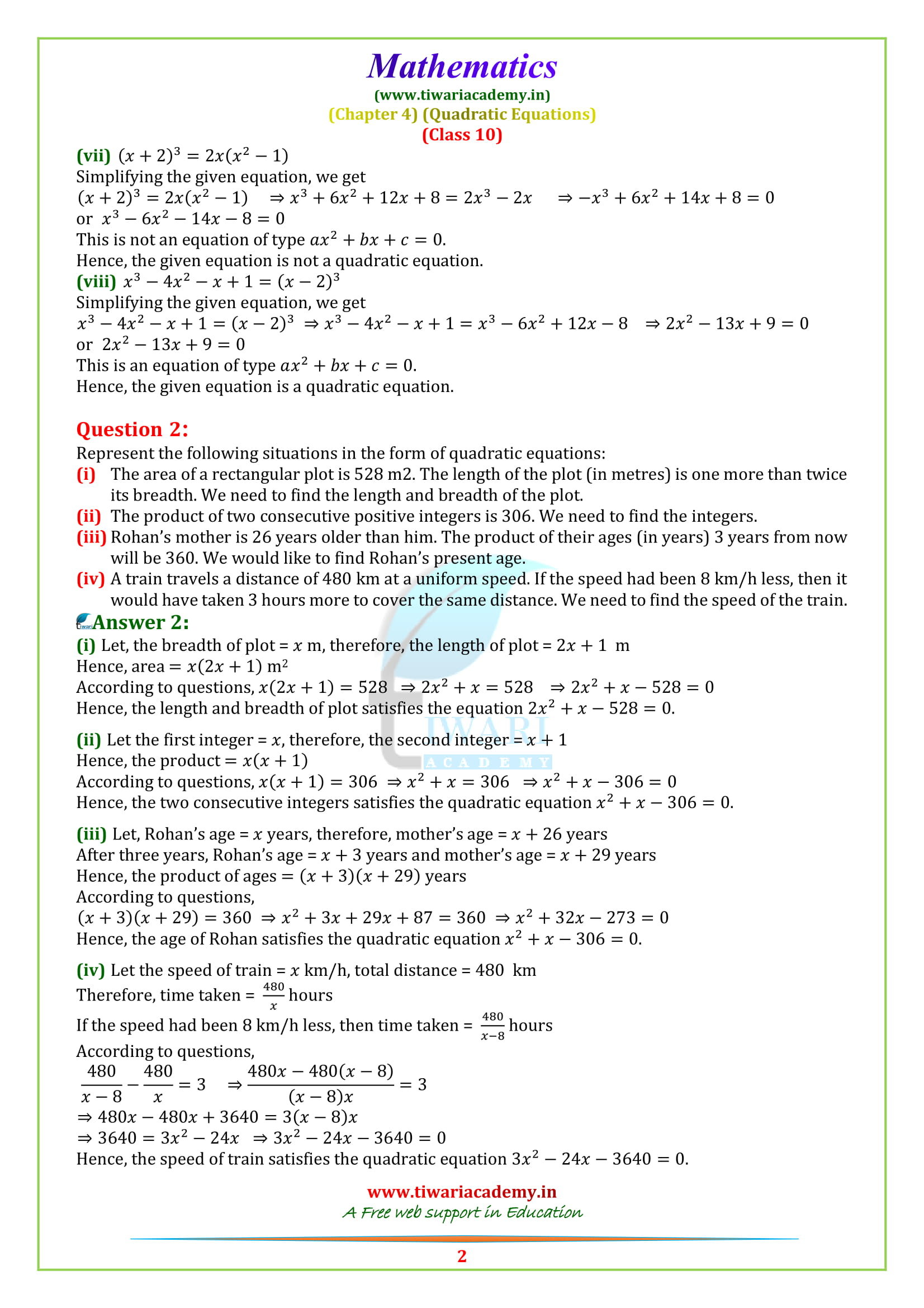 10 Maths Exercise 4.1 sols for 2018-19.