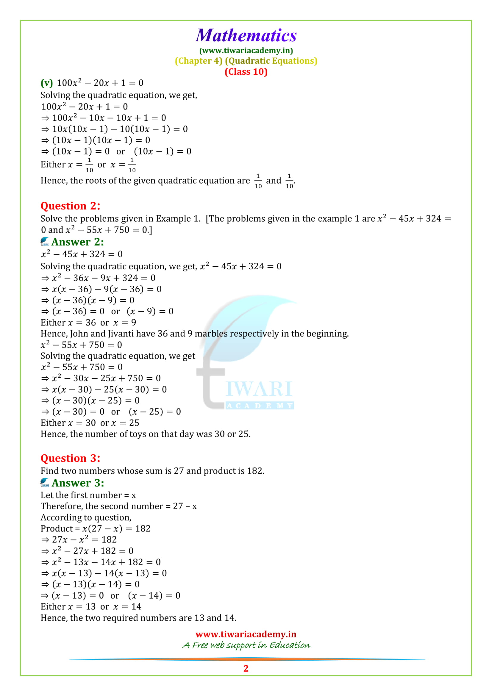 Class 10 Maths Exercise 4.2 solutions updated for 2019