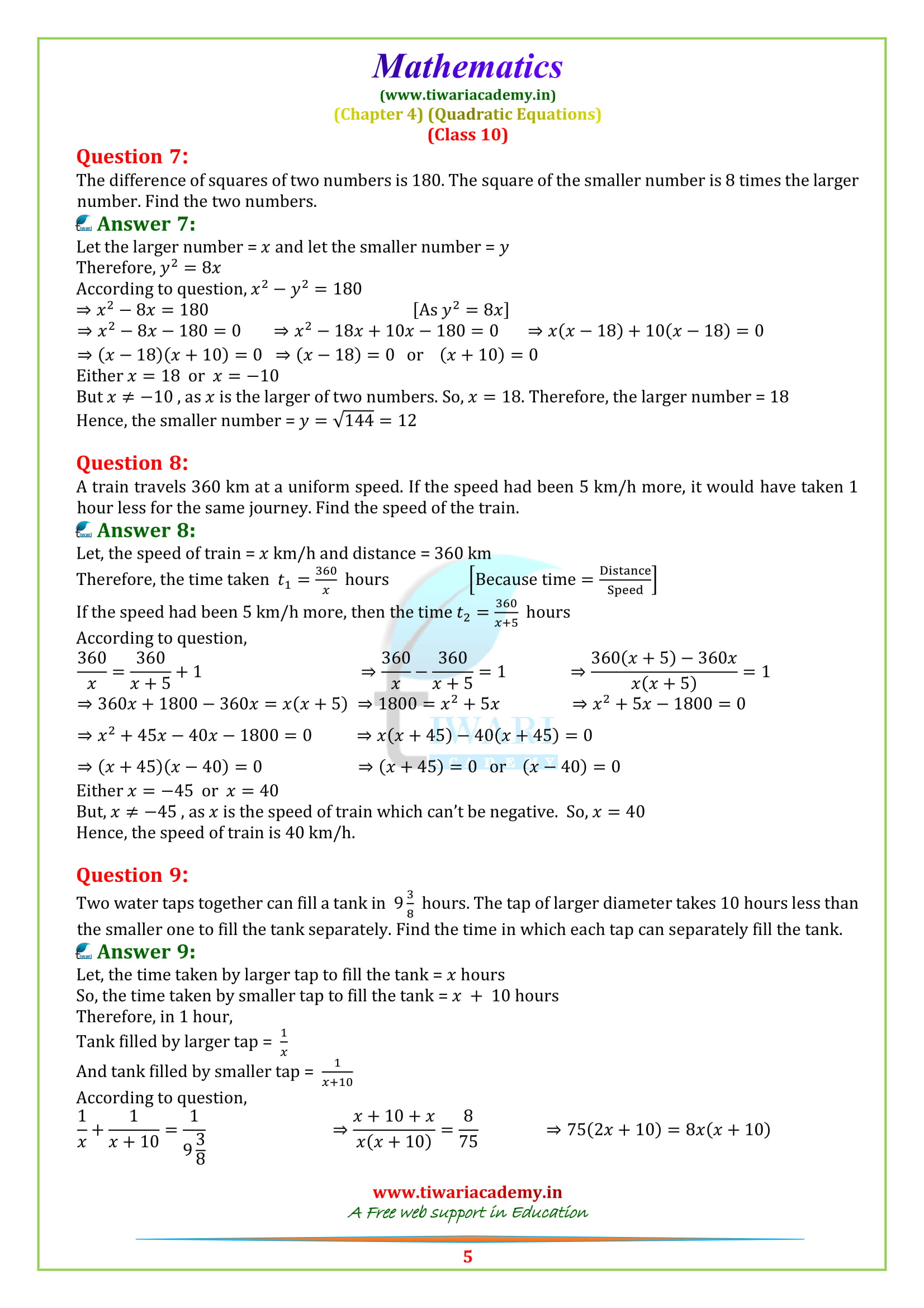 NCERT Solutions for class 10 maths Exercise 4.3 question 4, 5, 6, 7, 8
