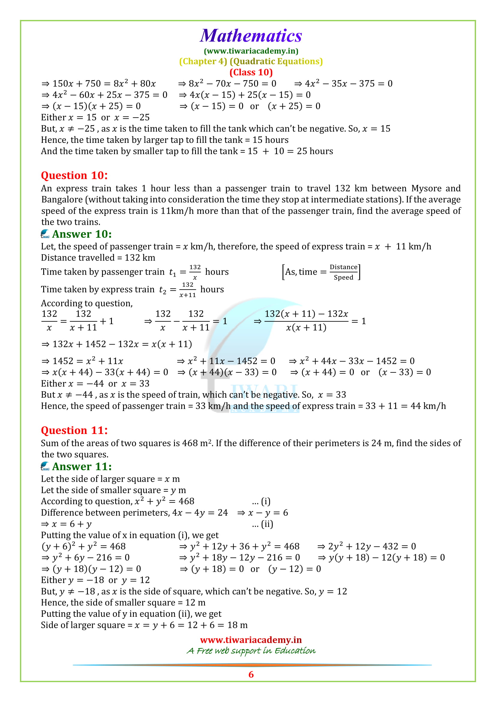 NCERT Solutions for class 10 maths Exercise 4.3 download in pdf