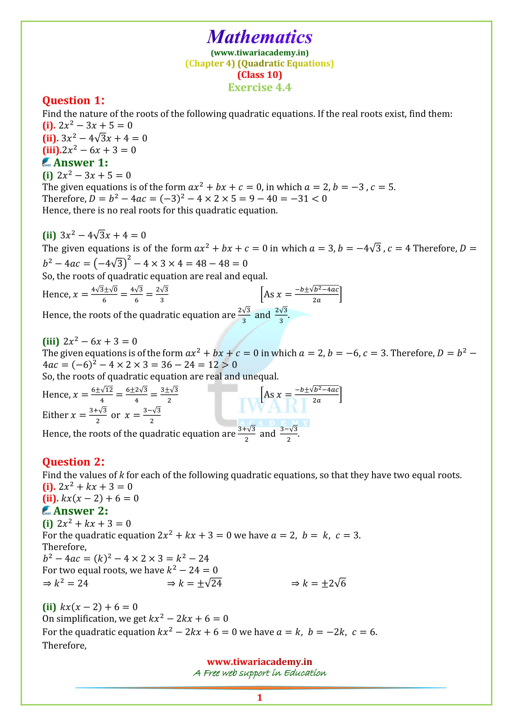 NCERT Solutions for class 10 Maths Exercise 4.4 in english medium updated for 2018-19.