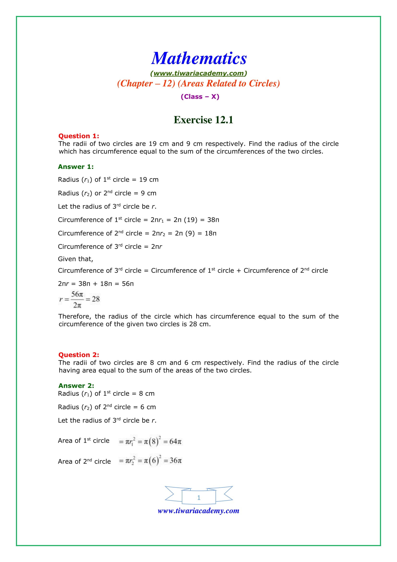 NCERT Solutions for Class 10 Maths Chapter 12 Exercise 12.1 Question 1