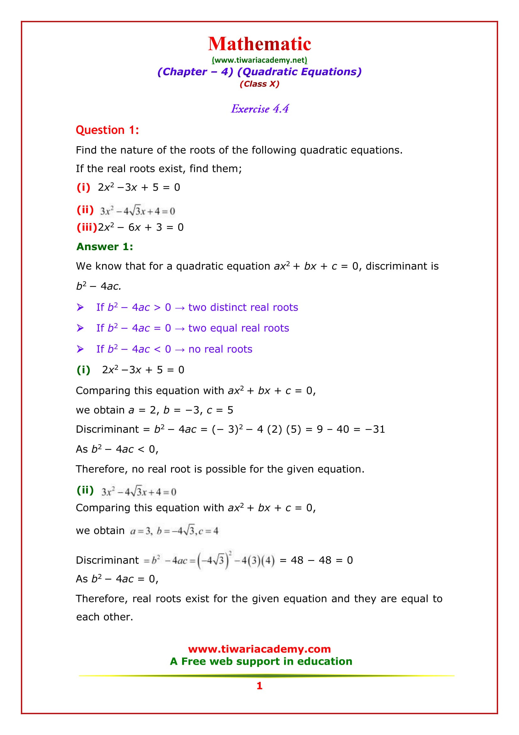 NCERT Solutions for Class 10 Maths Chapter 4 Exercise 4.4 Quadratic Eq.