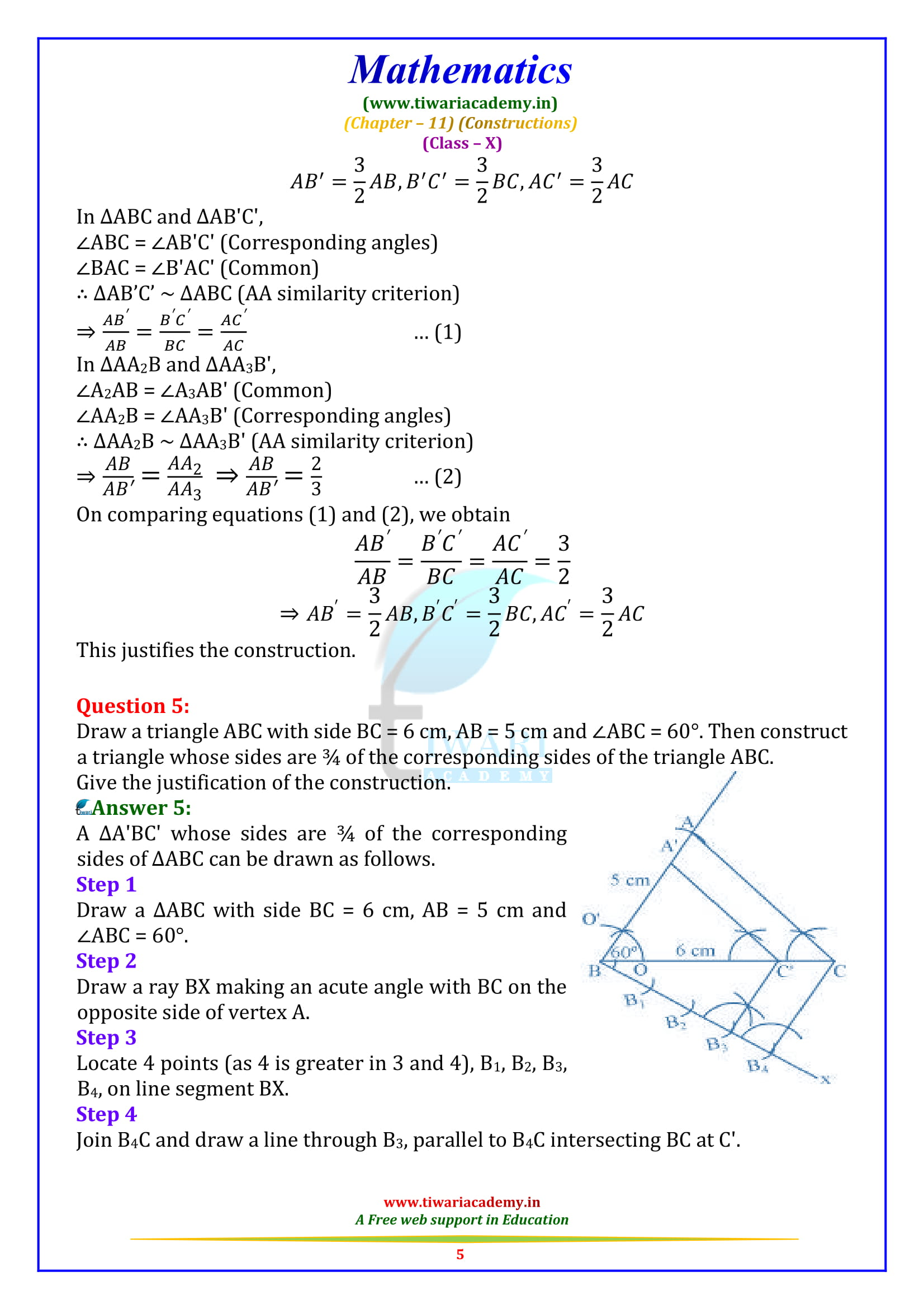 NCERT solutions for Class 10 Maths Chapter 11 Exercise 11.1 Constructions