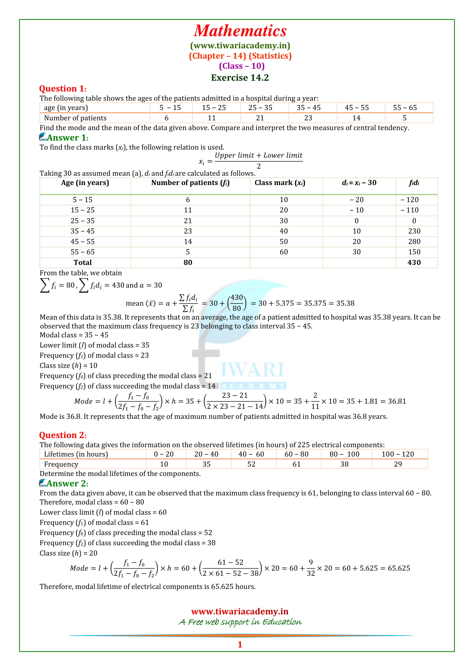 NCERT Solutions for Class 10 Maths Chapter 14 Exercise 14.2 Statistics