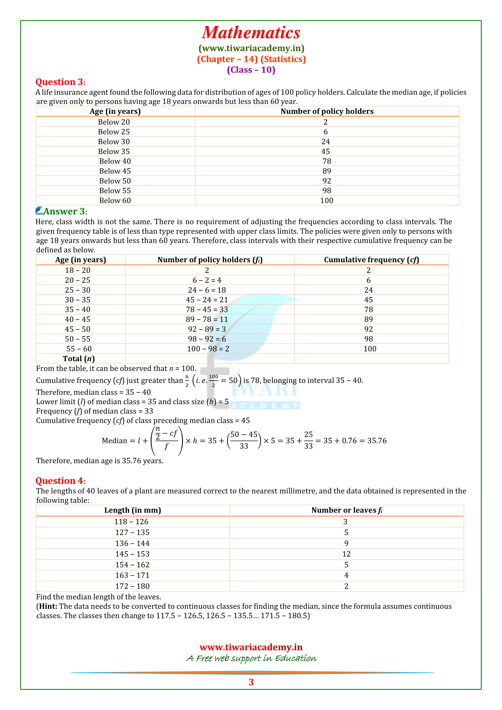 NCERT Solutions for Class 10 Maths Chapter 14 Exercise 14.3 statistics in english medium
