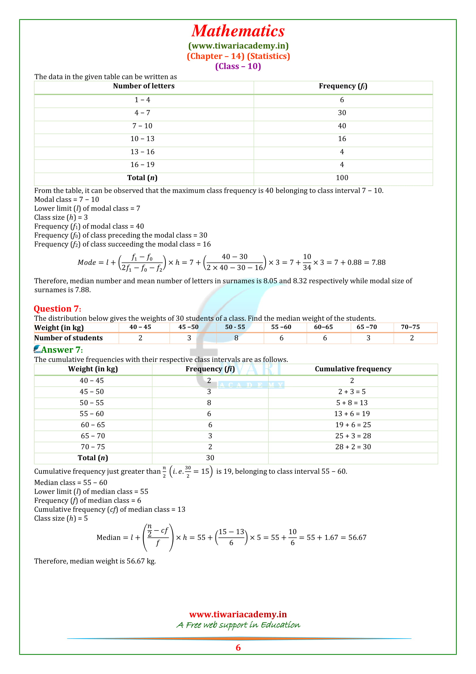 NCERT Solutions for Class 10 Maths Chapter 14 Exercise 14.3 statistics free to download