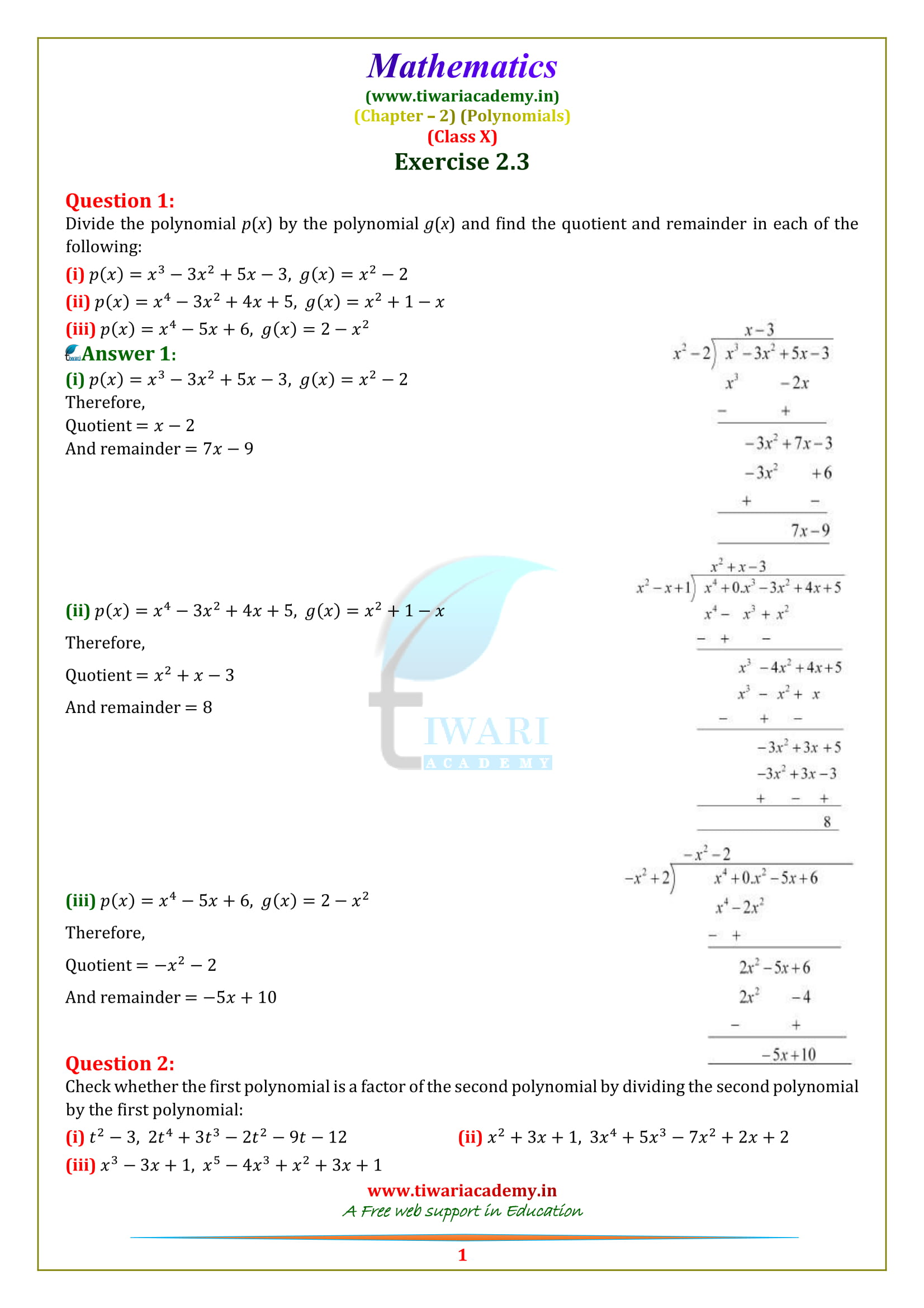 Class 10 Maths Chapter 2 Exercise 2.3 Question 1, 2, 3