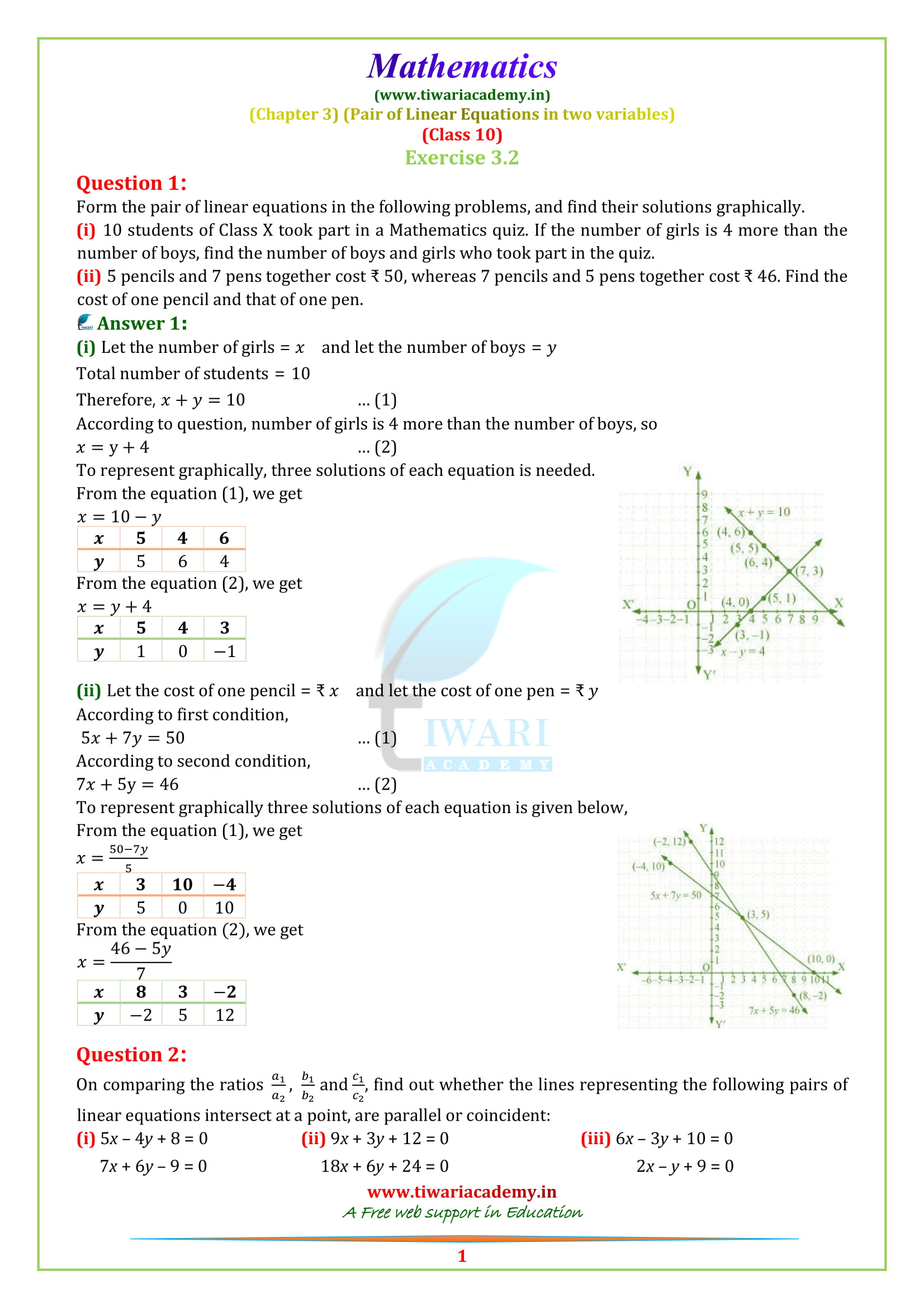 NCERT Solutions for Class 10 Maths Chapter 3 Exercise 3 2 in PDF