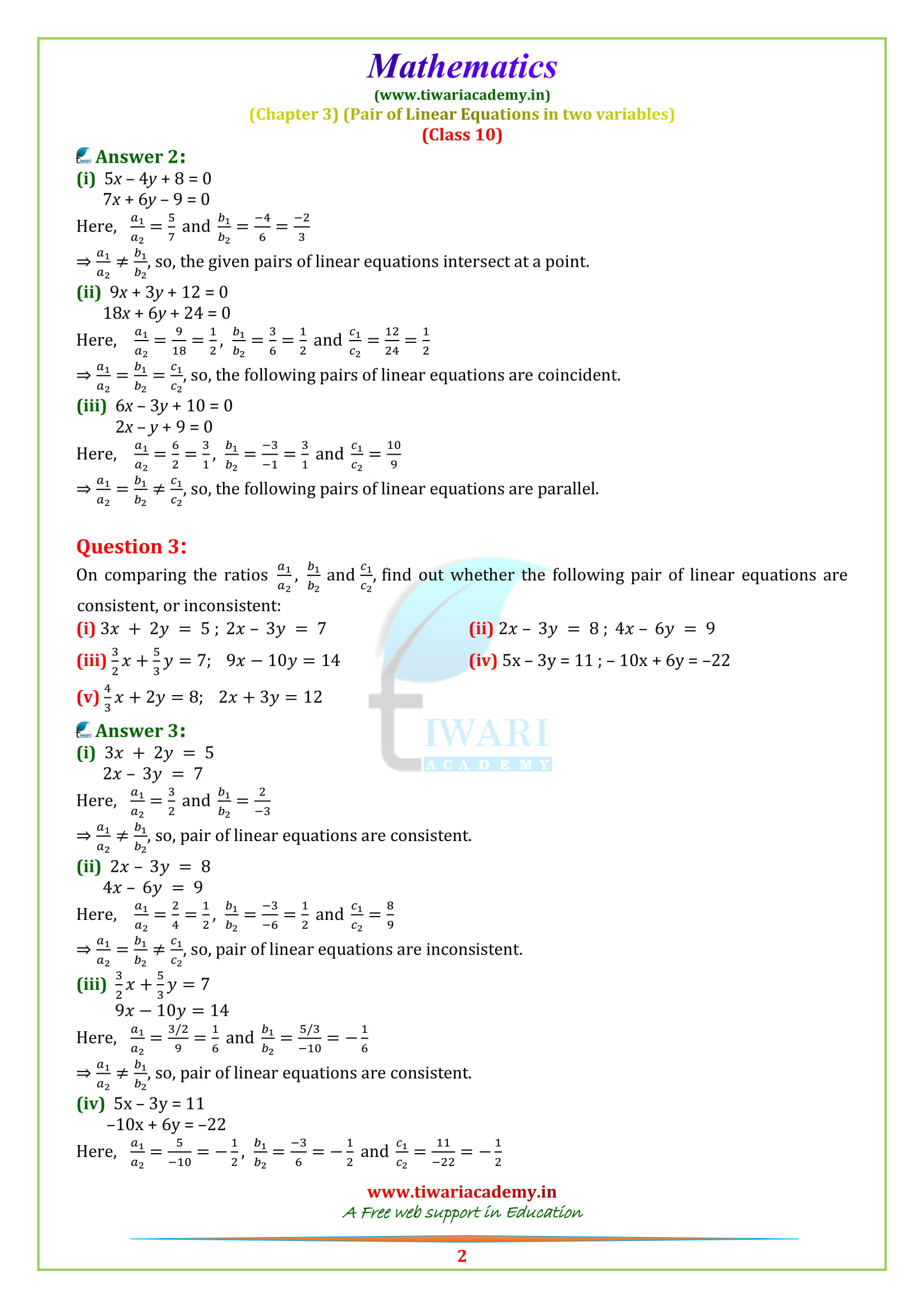 Class 10 Maths Chapter 3 Exercise 3.2 updated for 2019