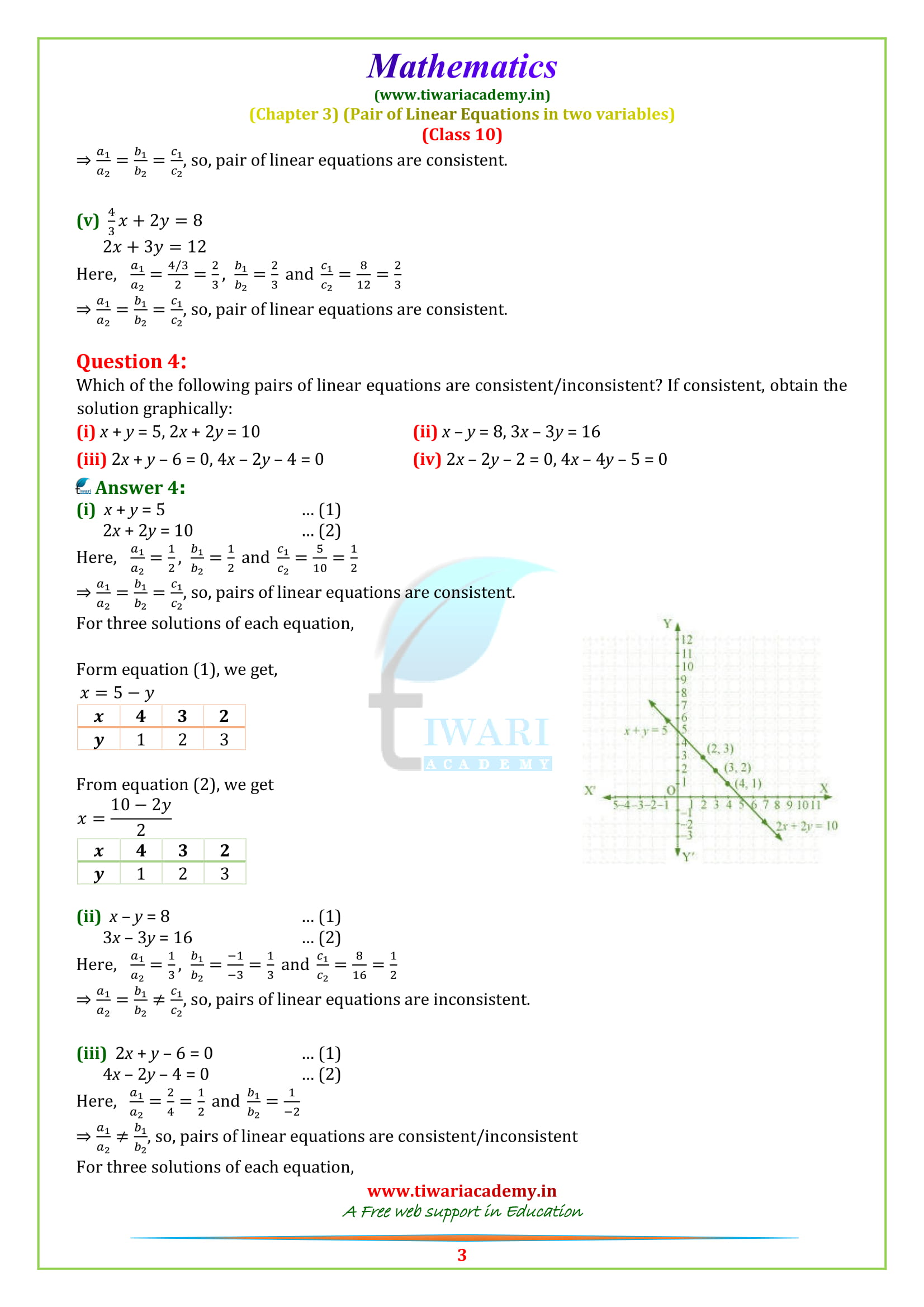 Class 10 Maths Chapter 3 Exercise 3.2 solutions for cbse and up board.