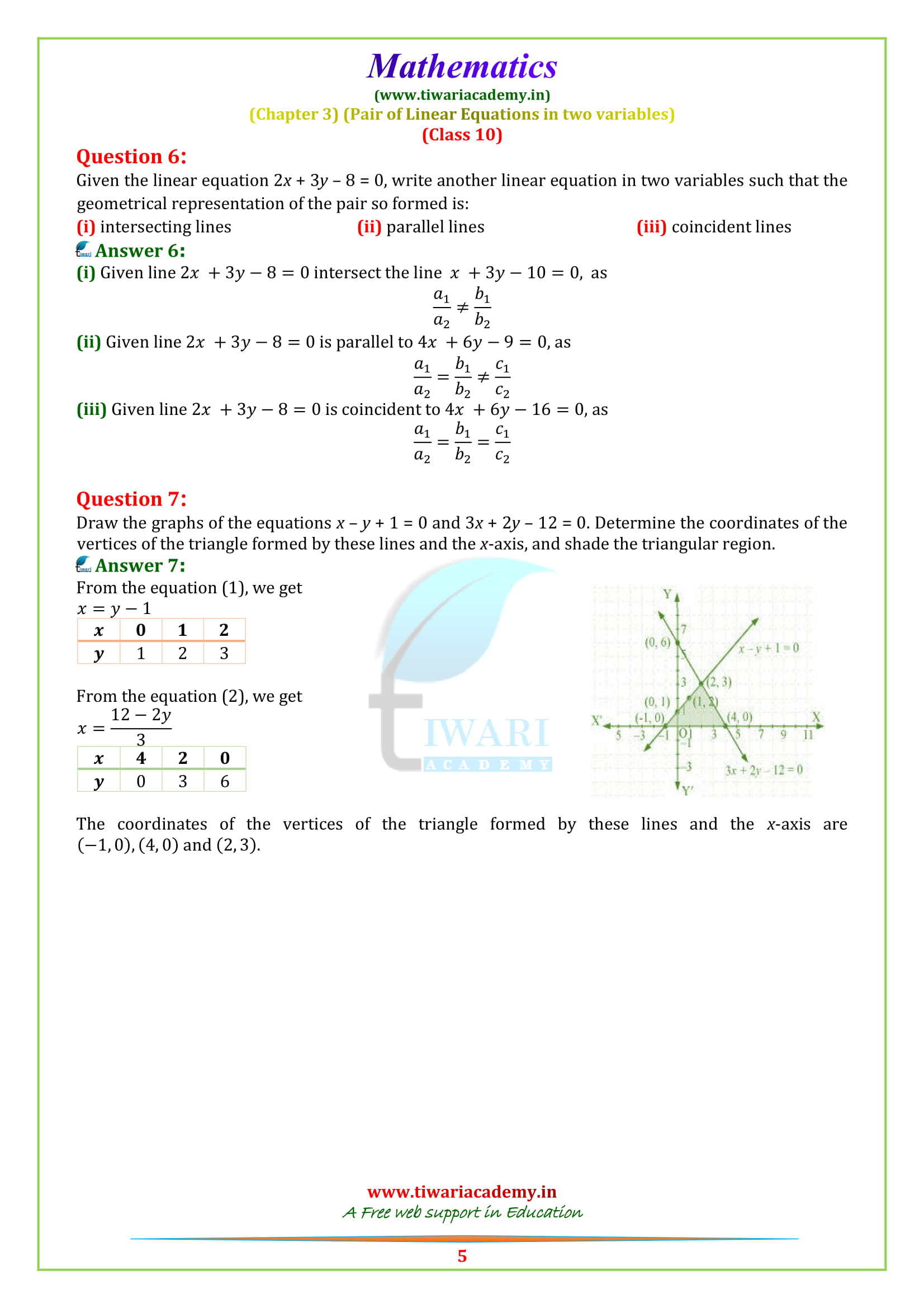 Class 10 Maths Chapter 3 Exercise 3.2 question 1, 2, 3, 4, 5, 6, 7