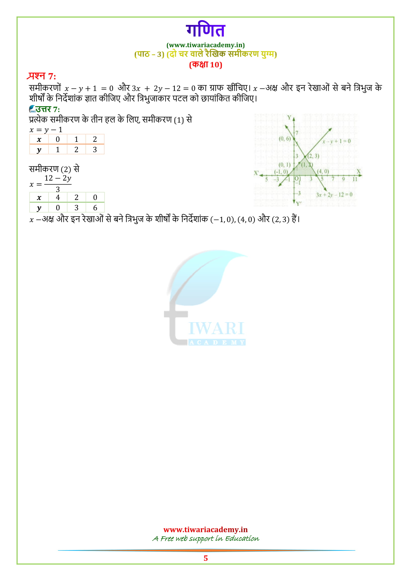Class 10 Maths Chapter 3 prashnavali 3.2 ke prashn uttar