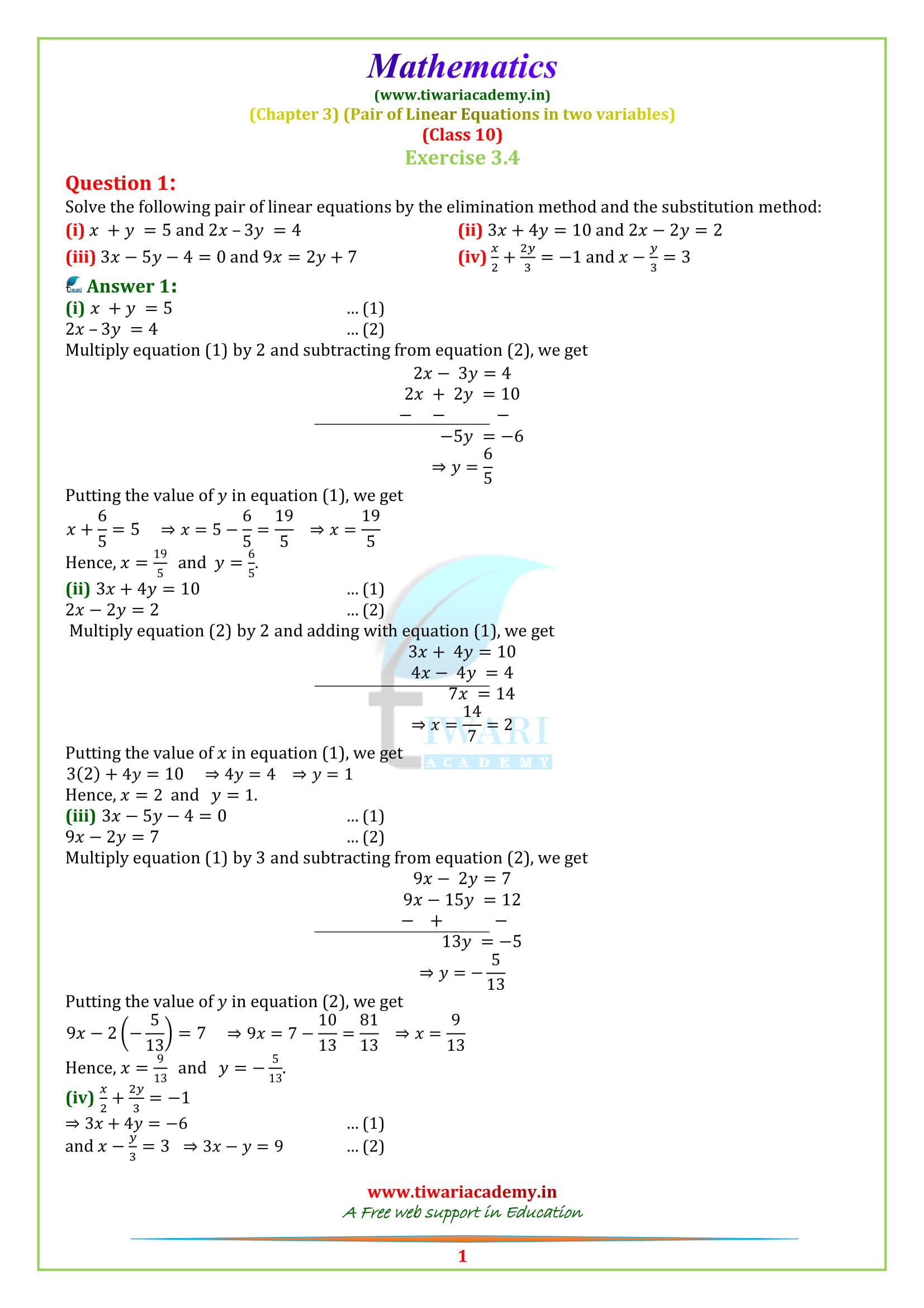 NCERT Solutions for Class 10 Maths Chapter 3 Exercise 3.4 questiion 1